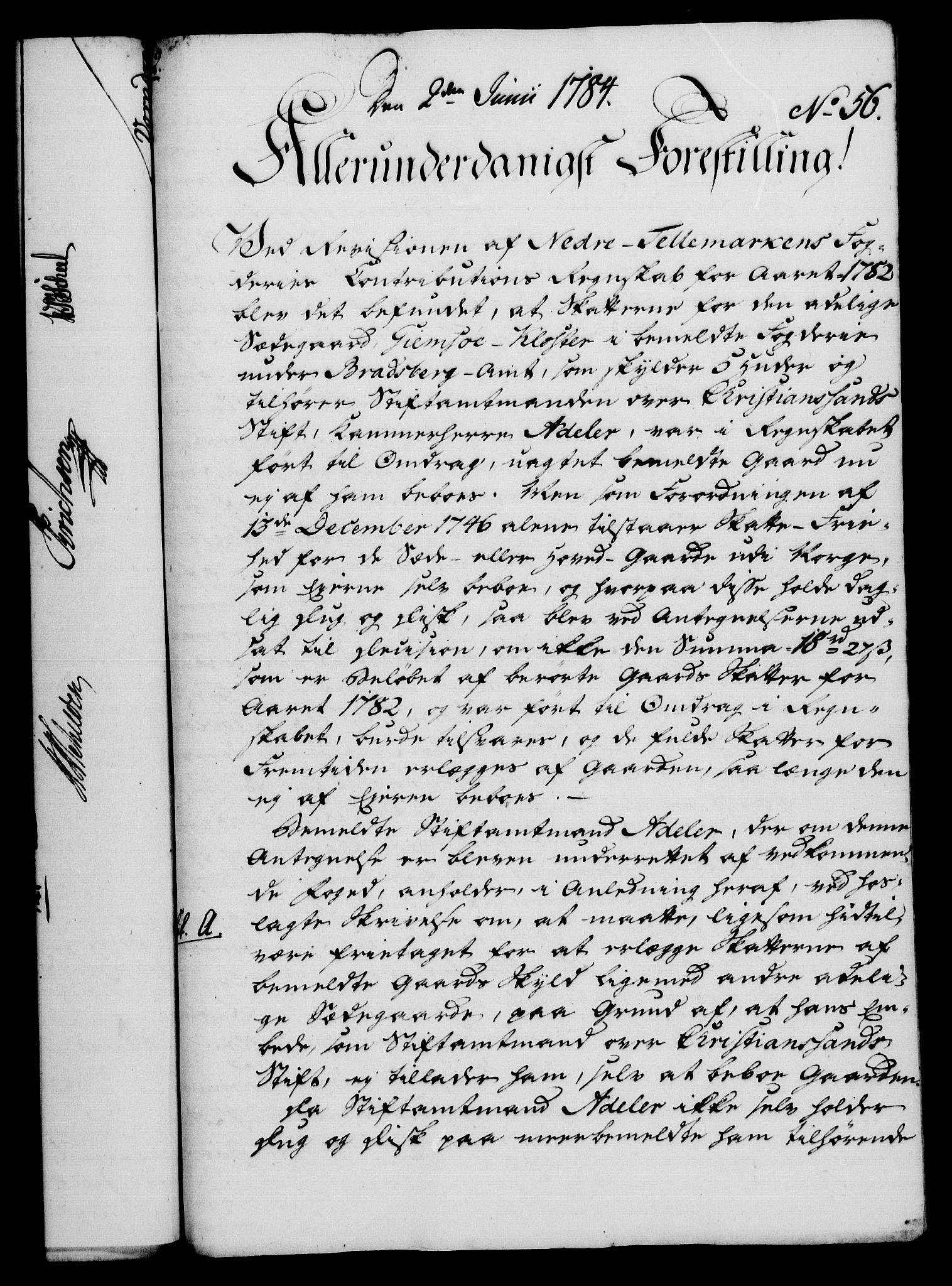 RA, Rentekammeret, Kammerkanselliet, G/Gf/Gfa/L0066: Norsk relasjons- og resolusjonsprotokoll (merket RK 52.66), 1784, s. 425