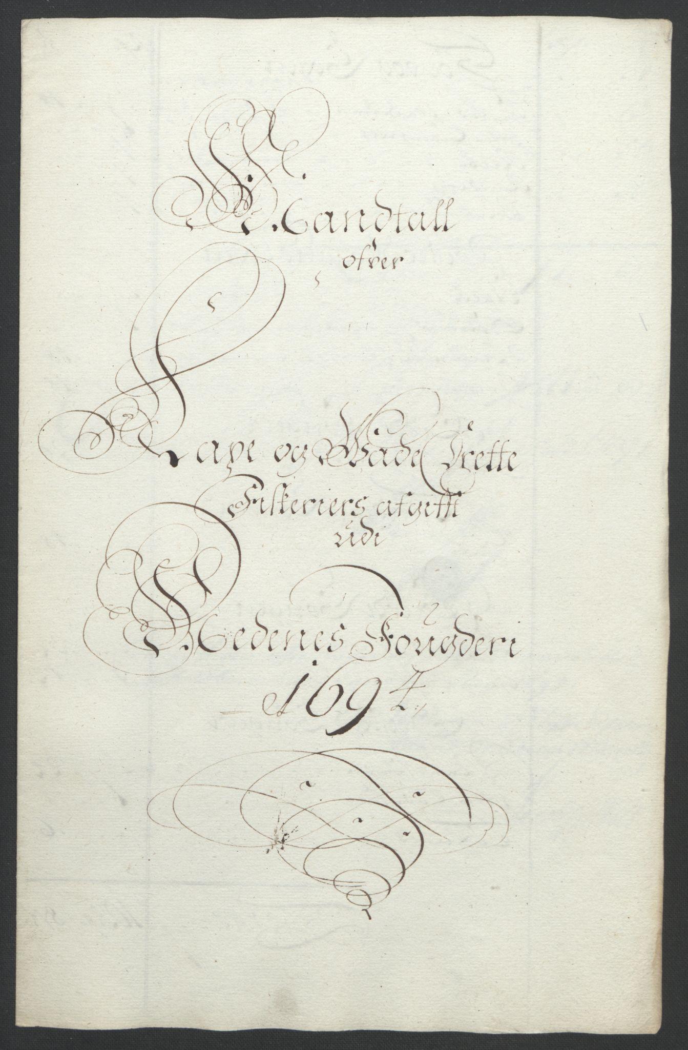 RA, Rentekammeret inntil 1814, Reviderte regnskaper, Fogderegnskap, R39/L2312: Fogderegnskap Nedenes, 1693-1695, s. 133