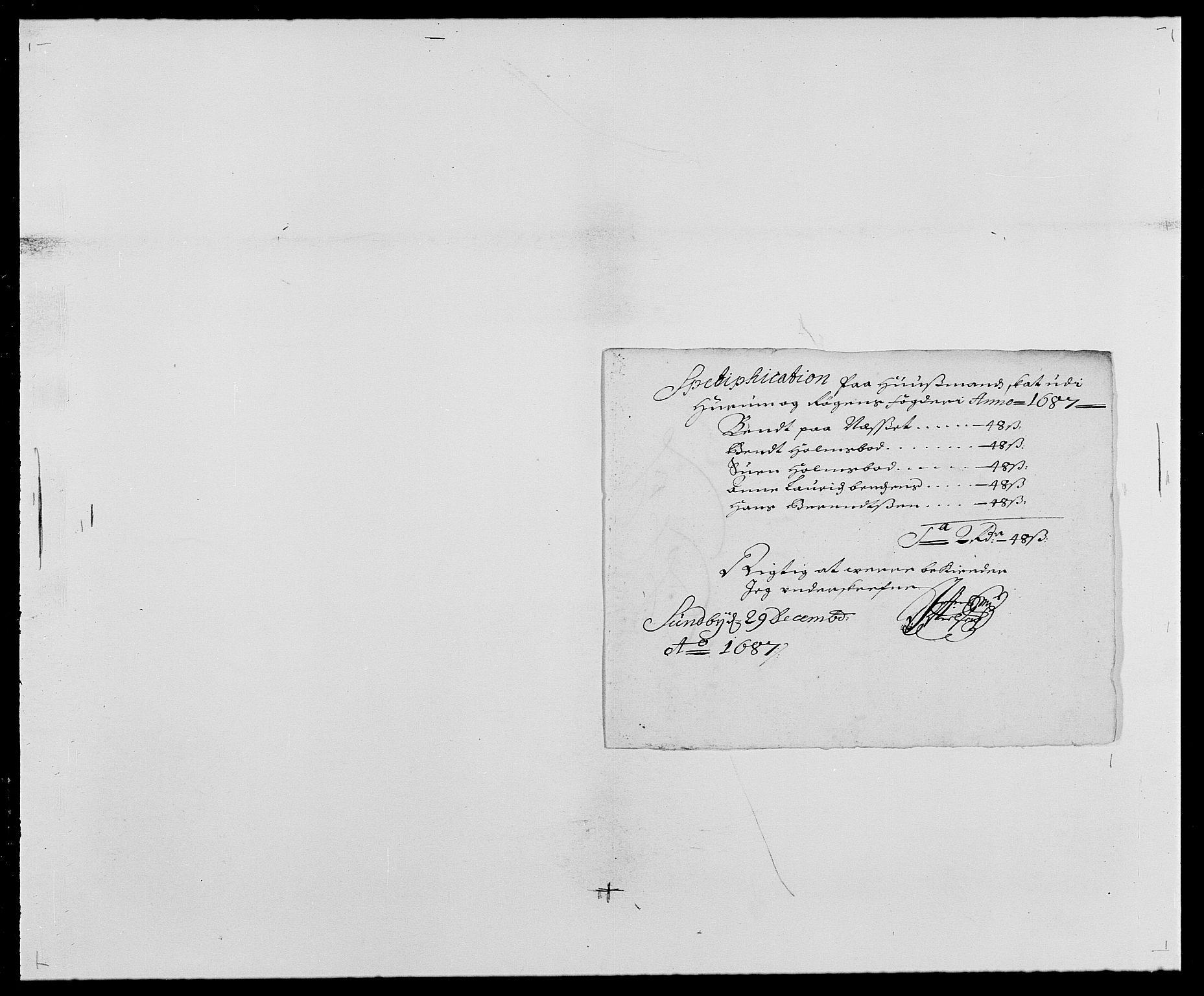 RA, Rentekammeret inntil 1814, Reviderte regnskaper, Fogderegnskap, R29/L1692: Fogderegnskap Hurum og Røyken, 1682-1687, s. 328