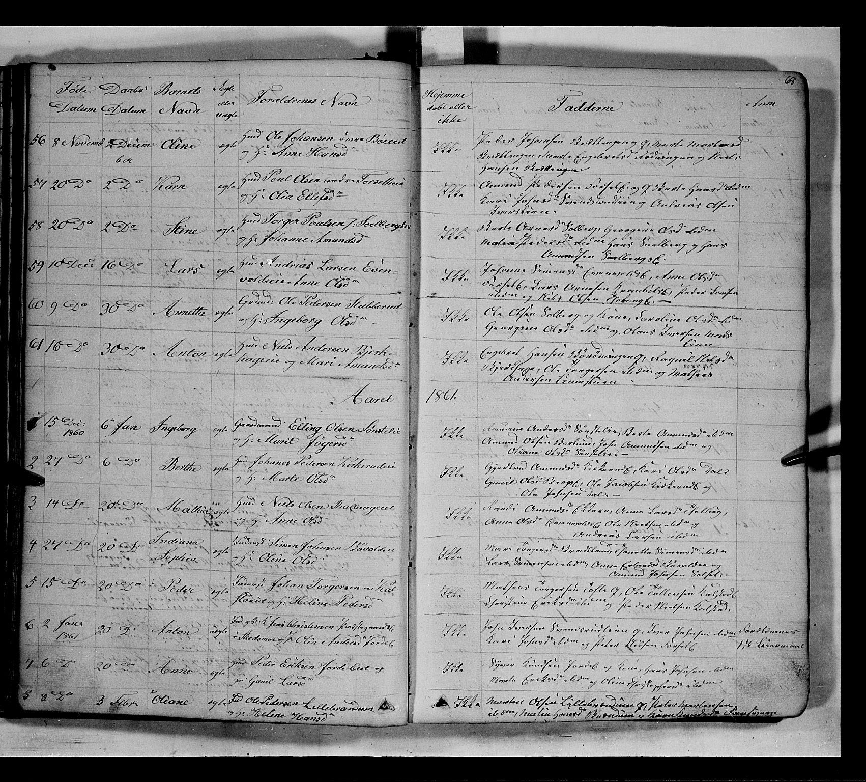SAH, Gausdal prestekontor, Klokkerbok nr. 5, 1846-1867, s. 68