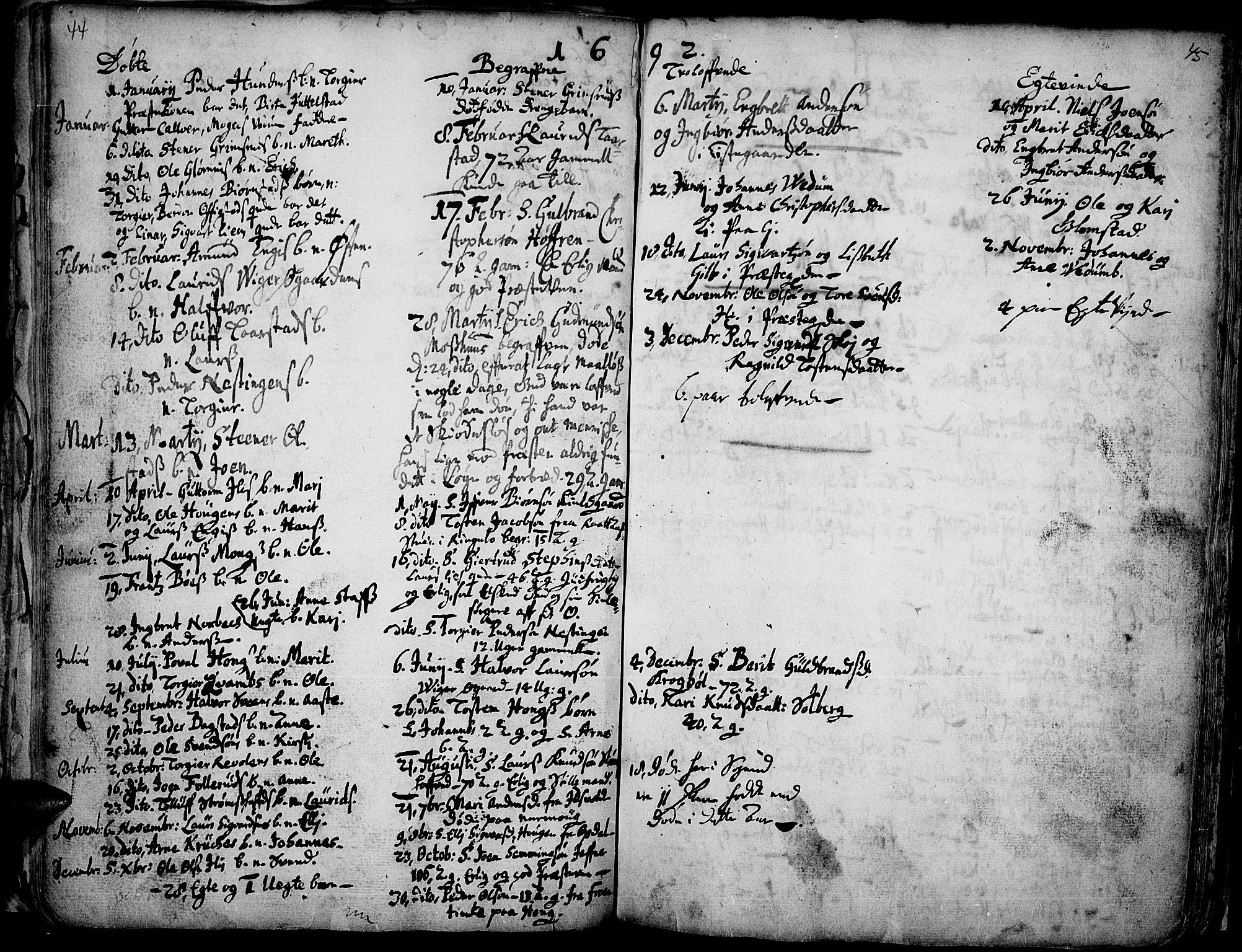 SAH, Øyer prestekontor, Ministerialbok nr. 1, 1671-1727, s. 44-45