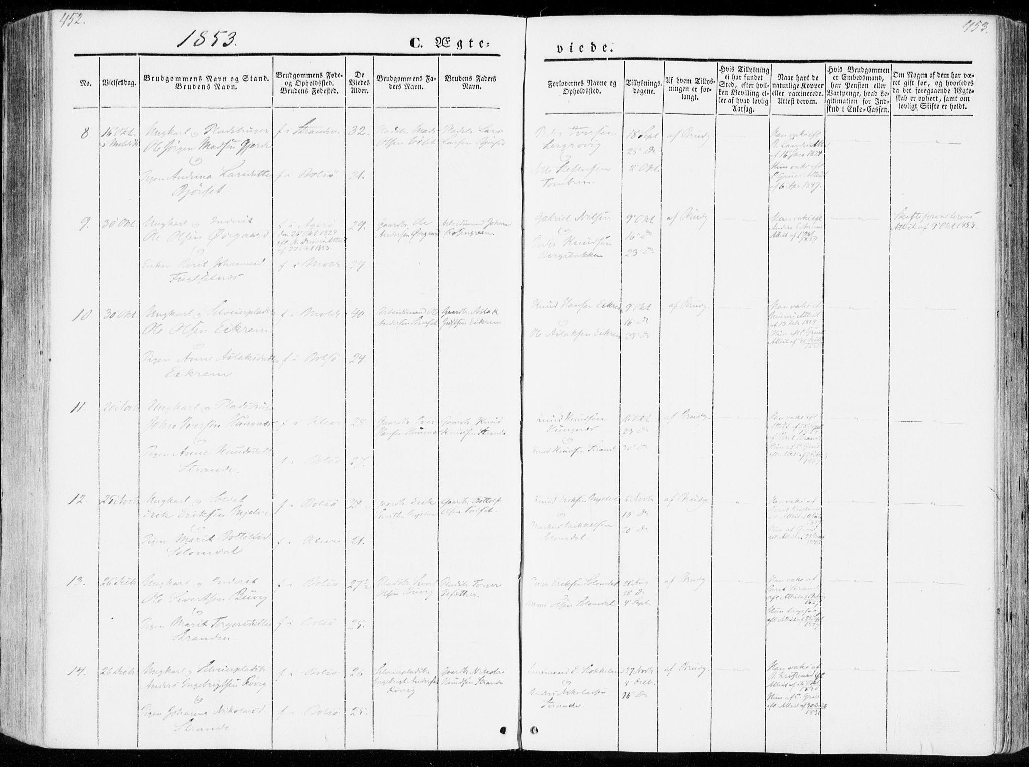 SAT, Ministerialprotokoller, klokkerbøker og fødselsregistre - Møre og Romsdal, 555/L0653: Ministerialbok nr. 555A04, 1843-1869, s. 452-453