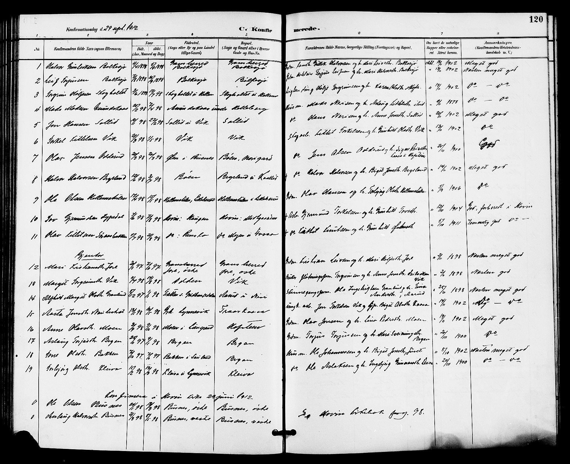 SAKO, Gransherad kirkebøker, G/Ga/L0003: Klokkerbok nr. I 3, 1887-1915, s. 120