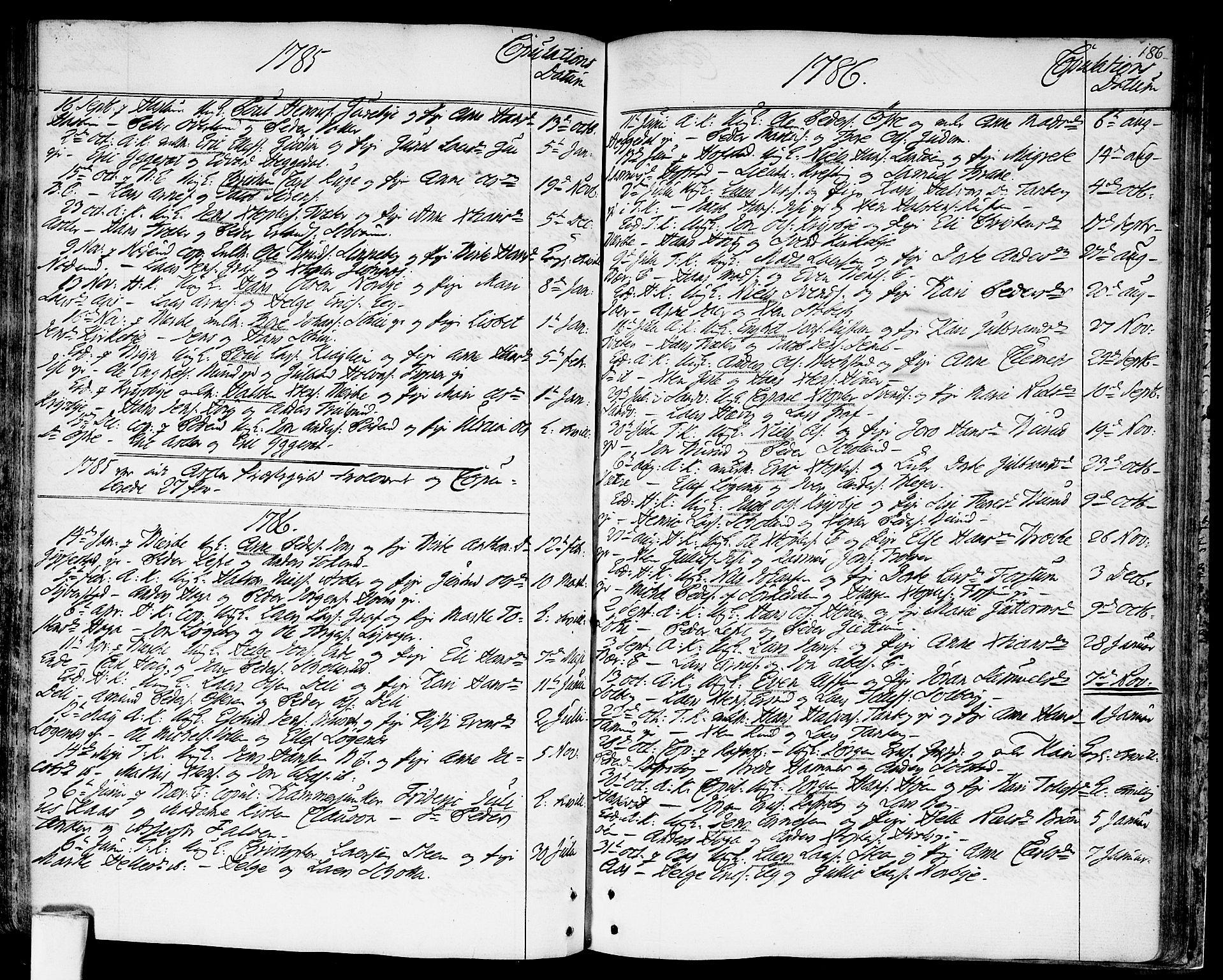 SAO, Asker prestekontor Kirkebøker, F/Fa/L0003: Ministerialbok nr. I 3, 1767-1807, s. 186