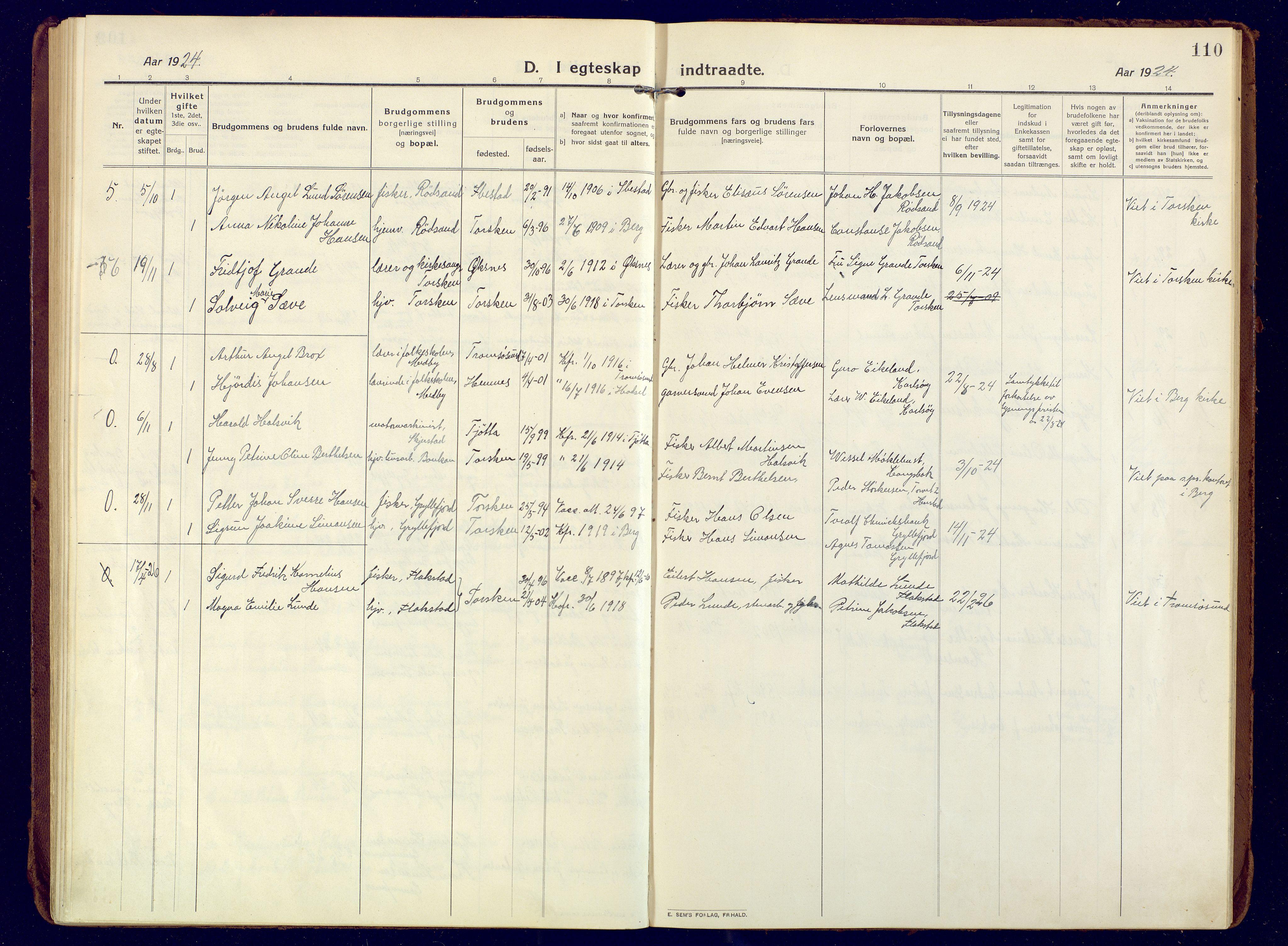 SATØ, Mefjord/Berg sokneprestkontor, G/Ga/Gaa: Ministerialbok nr. 10, 1916-1928, s. 110