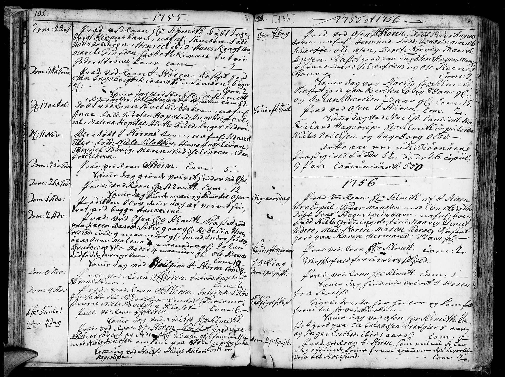 SAT, Ministerialprotokoller, klokkerbøker og fødselsregistre - Sør-Trøndelag, 657/L0700: Ministerialbok nr. 657A01, 1732-1801, s. 135-136