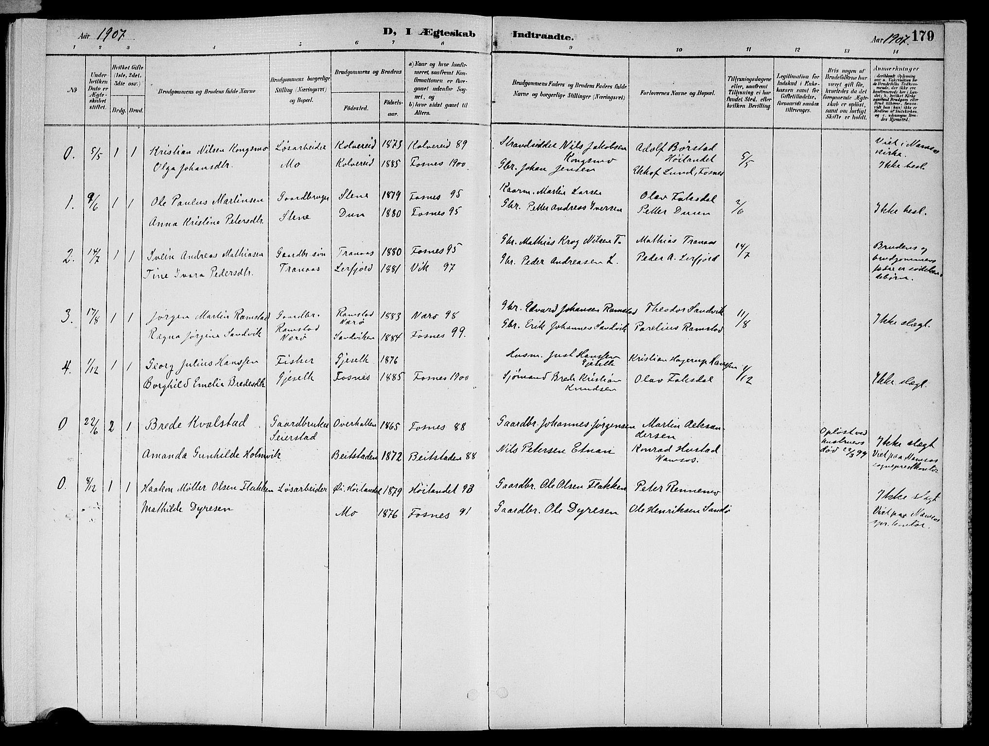 SAT, Ministerialprotokoller, klokkerbøker og fødselsregistre - Nord-Trøndelag, 773/L0617: Ministerialbok nr. 773A08, 1887-1910, s. 179