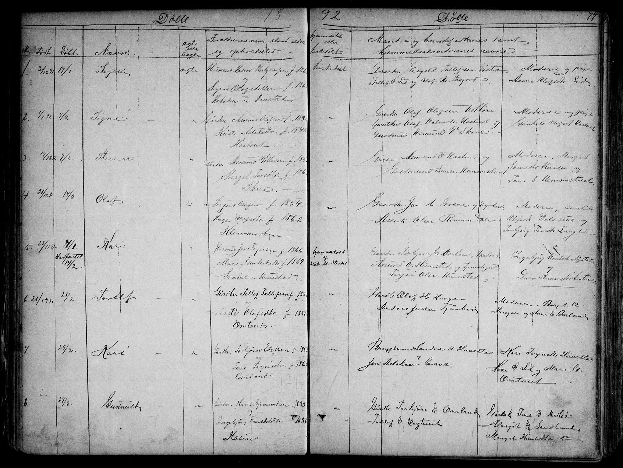 SAKO, Kviteseid kirkebøker, G/Gb/L0002: Klokkerbok nr. II 2, 1850-1892, s. 77