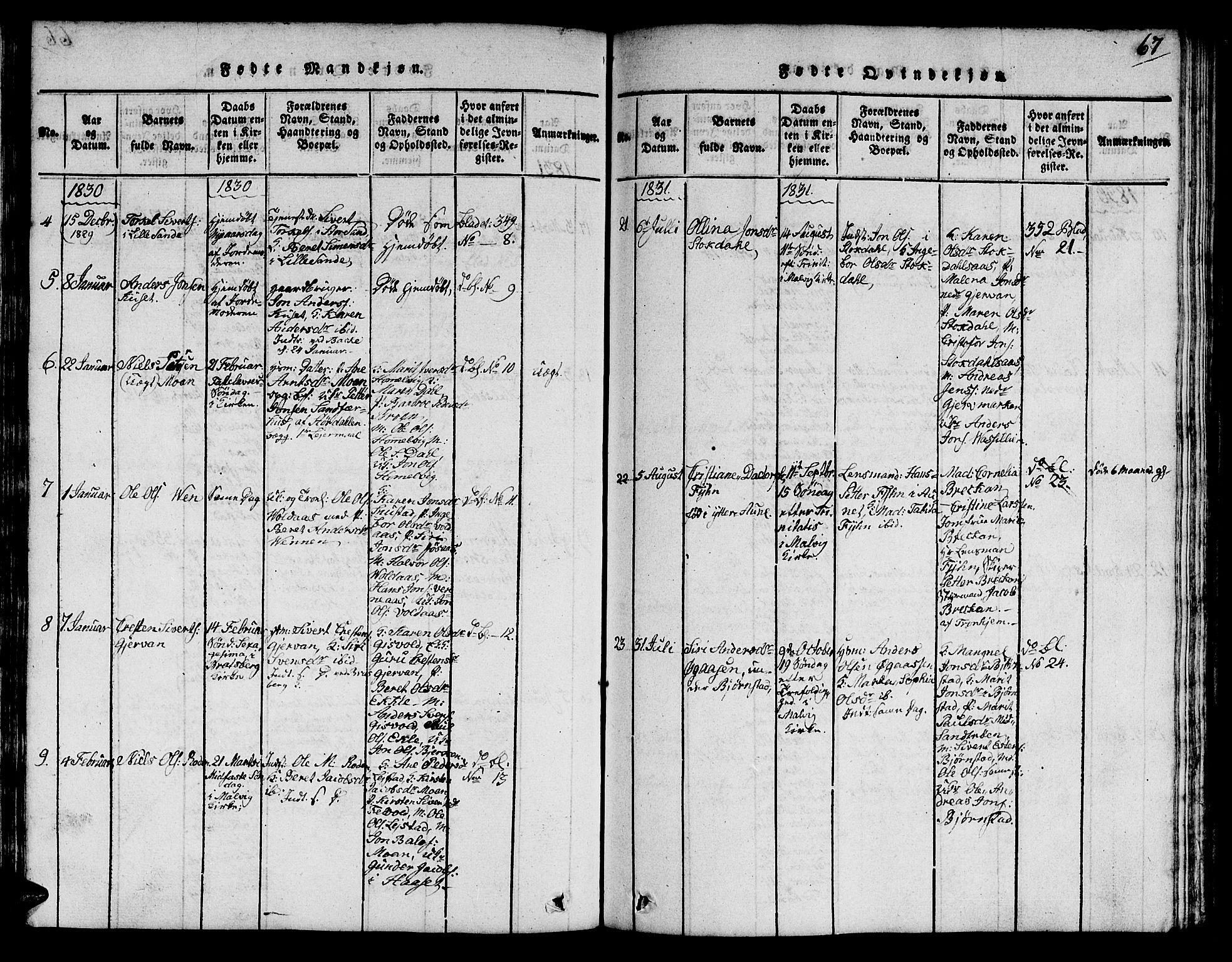 SAT, Ministerialprotokoller, klokkerbøker og fødselsregistre - Sør-Trøndelag, 616/L0420: Klokkerbok nr. 616C03, 1817-1835, s. 67