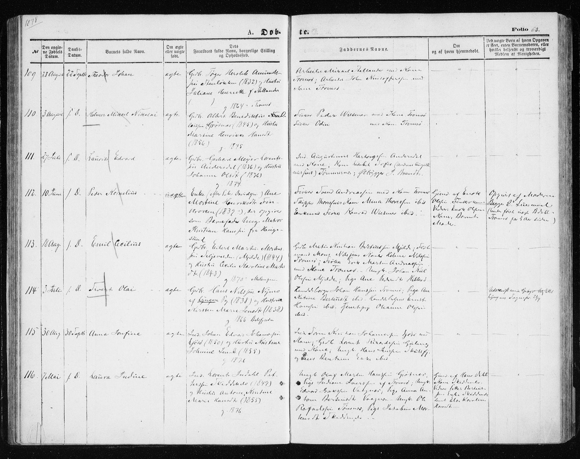 SATØ, Tromsøysund sokneprestkontor, G/Ga/L0003kirke: Ministerialbok nr. 3, 1875-1880, s. 63