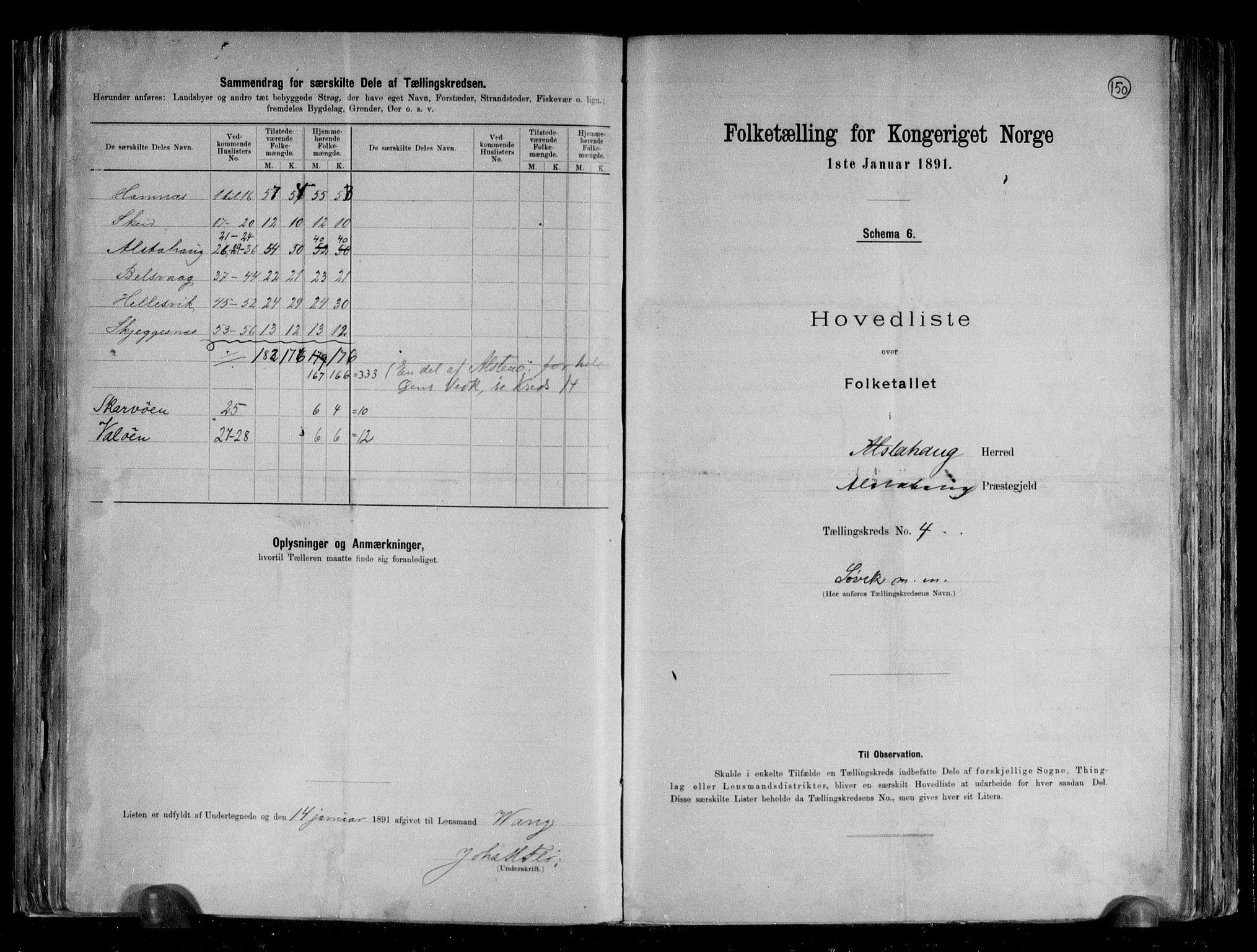 RA, Folketelling 1891 for 1820 Alstahaug herred, 1891, s. 12