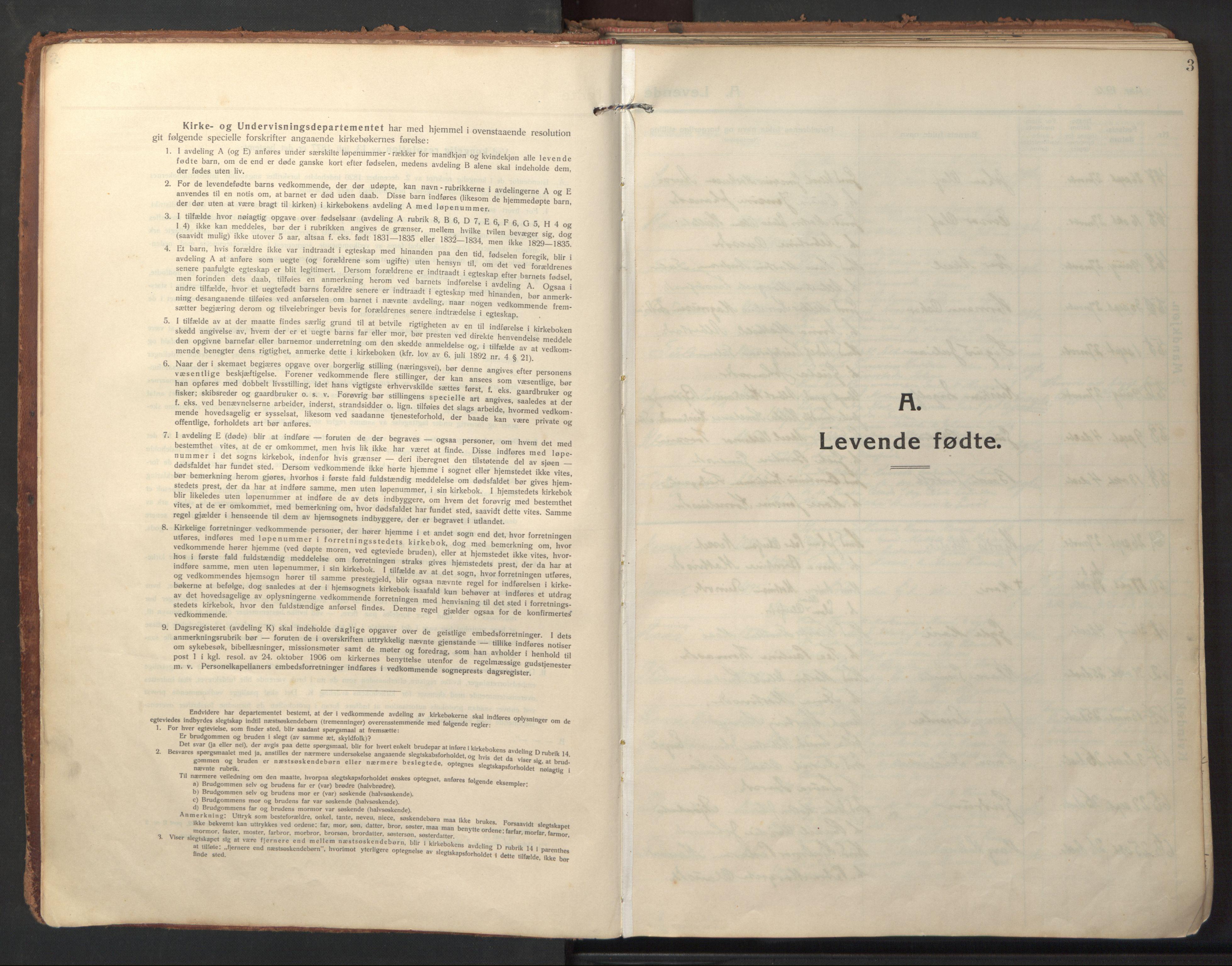 SAT, Ministerialprotokoller, klokkerbøker og fødselsregistre - Sør-Trøndelag, 640/L0581: Ministerialbok nr. 640A06, 1910-1924, s. 3