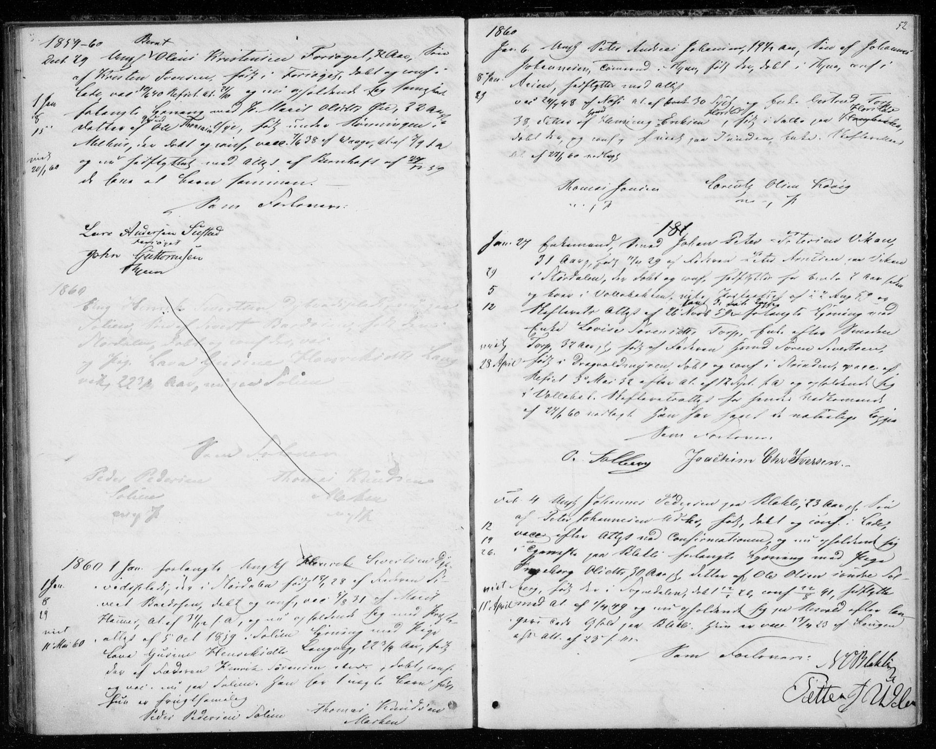 SAT, Ministerialprotokoller, klokkerbøker og fødselsregistre - Sør-Trøndelag, 606/L0297: Lysningsprotokoll nr. 606A12, 1854-1861, s. 52