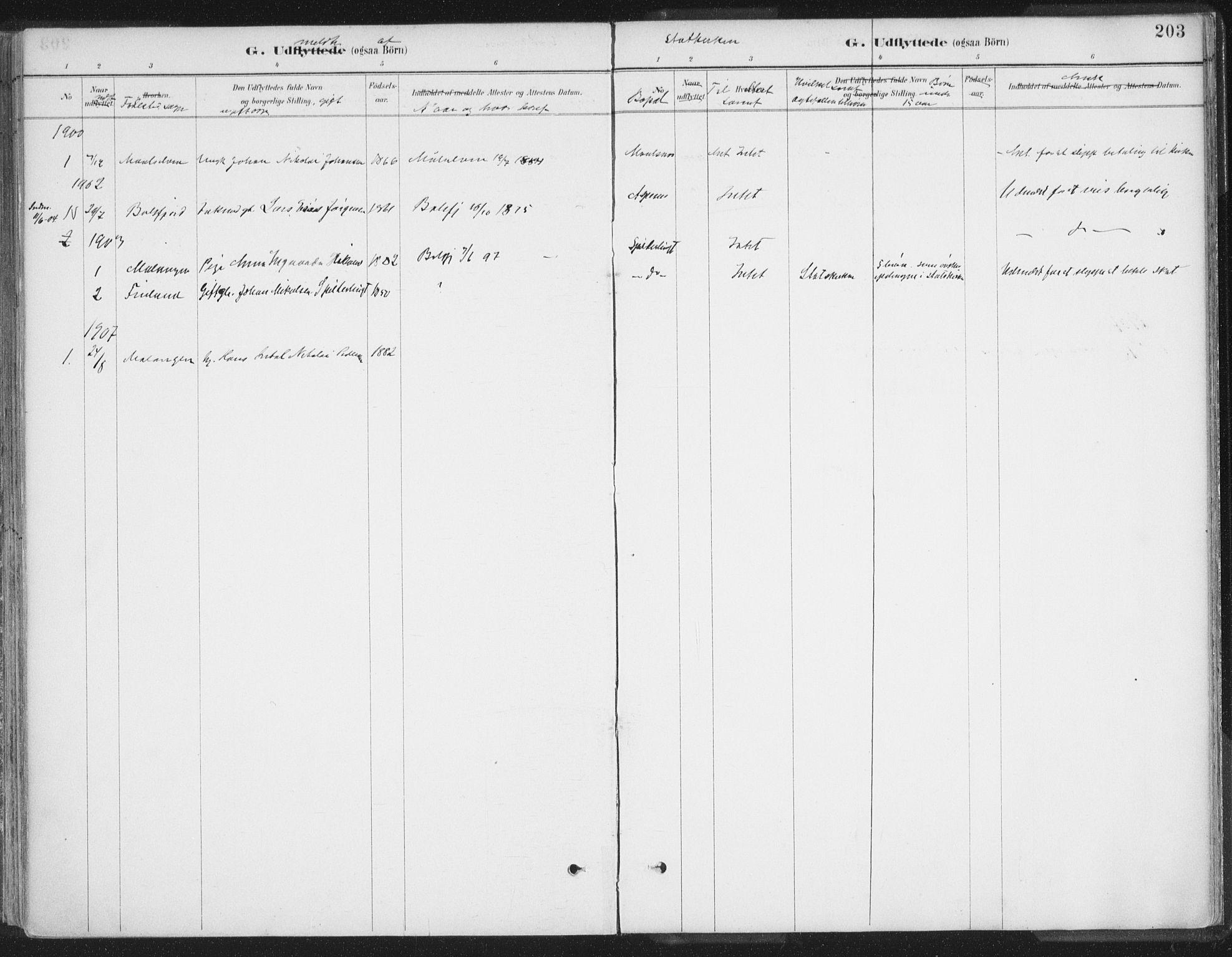 SATØ, Balsfjord sokneprestembete, Ministerialbok nr. 7, 1887-1909, s. 203