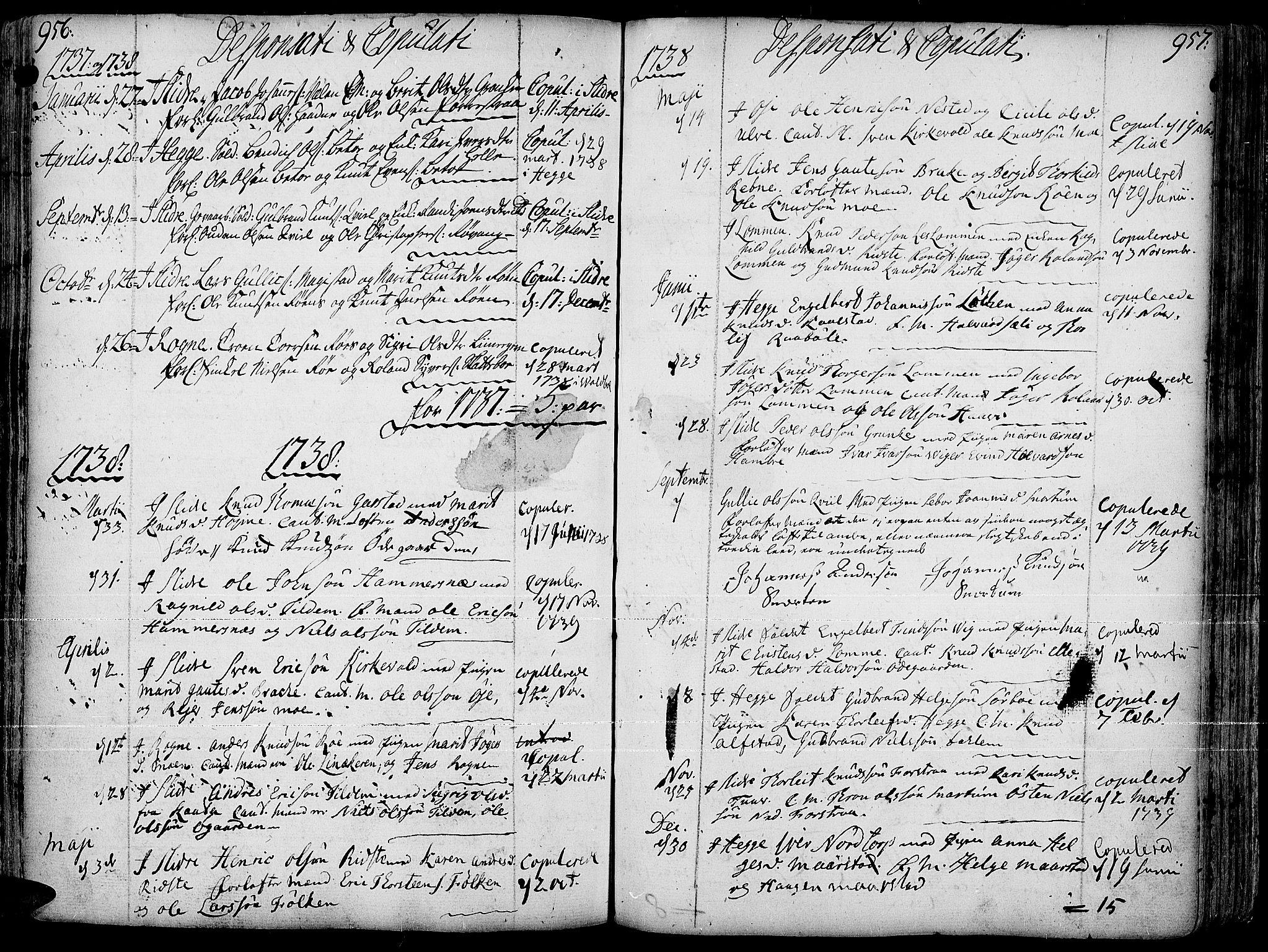 SAH, Slidre prestekontor, Ministerialbok nr. 1, 1724-1814, s. 956-957