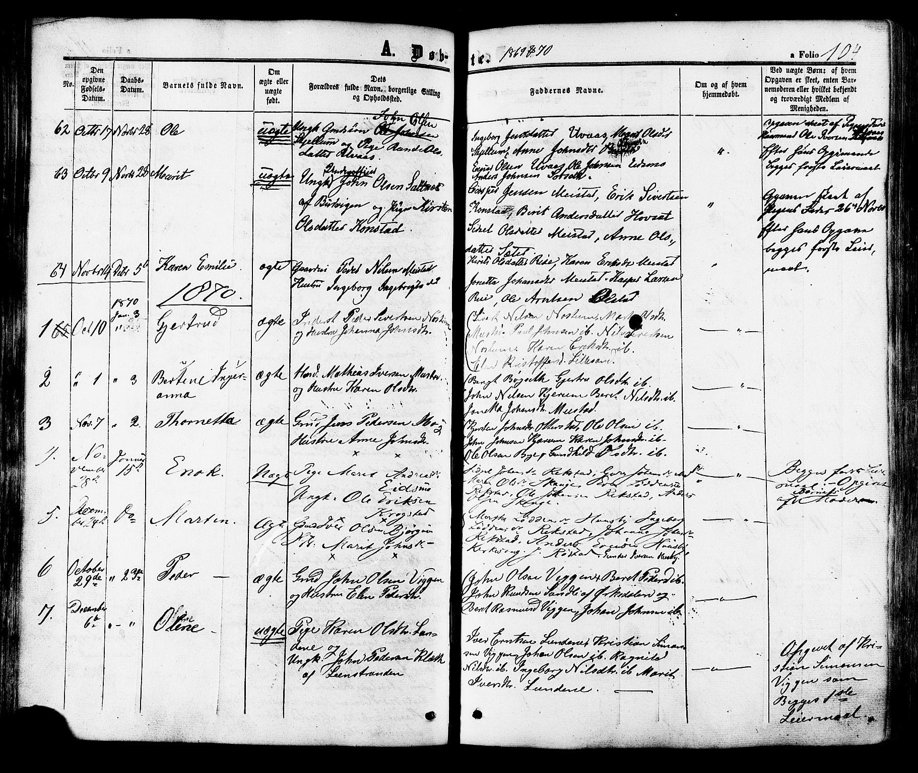 SAT, Ministerialprotokoller, klokkerbøker og fødselsregistre - Sør-Trøndelag, 665/L0772: Ministerialbok nr. 665A07, 1856-1878, s. 104