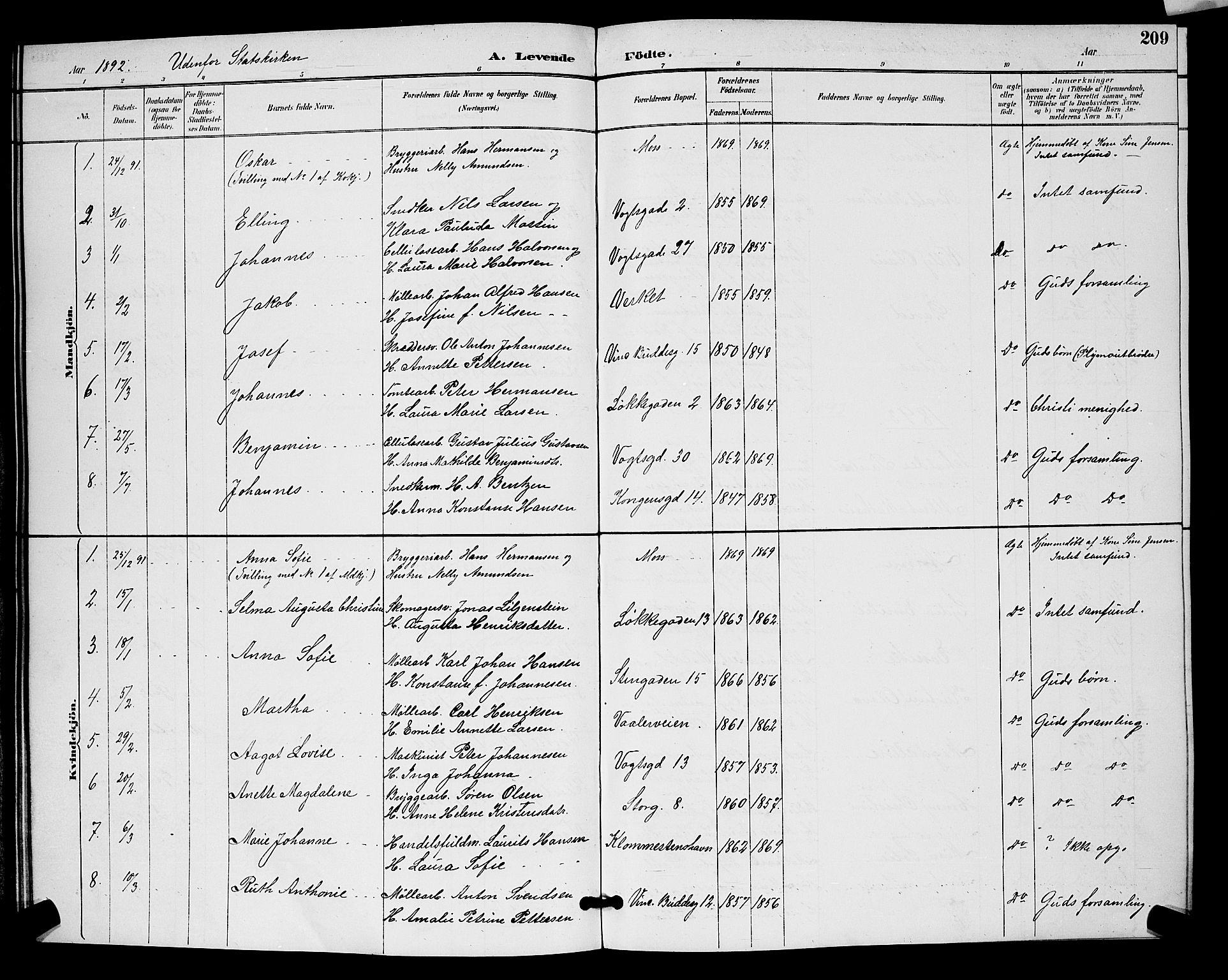 SAO, Moss prestekontor Kirkebøker, G/Ga/L0006: Klokkerbok nr. I 6, 1889-1900, s. 209