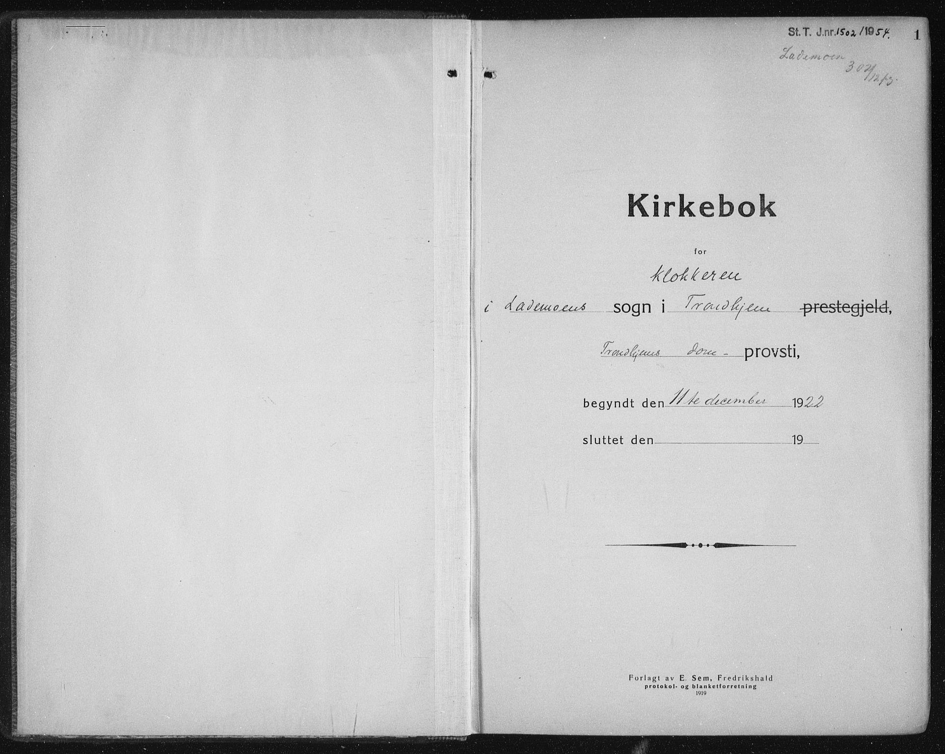 SAT, Ministerialprotokoller, klokkerbøker og fødselsregistre - Sør-Trøndelag, 605/L0260: Klokkerbok nr. 605C07, 1922-1942, s. 1