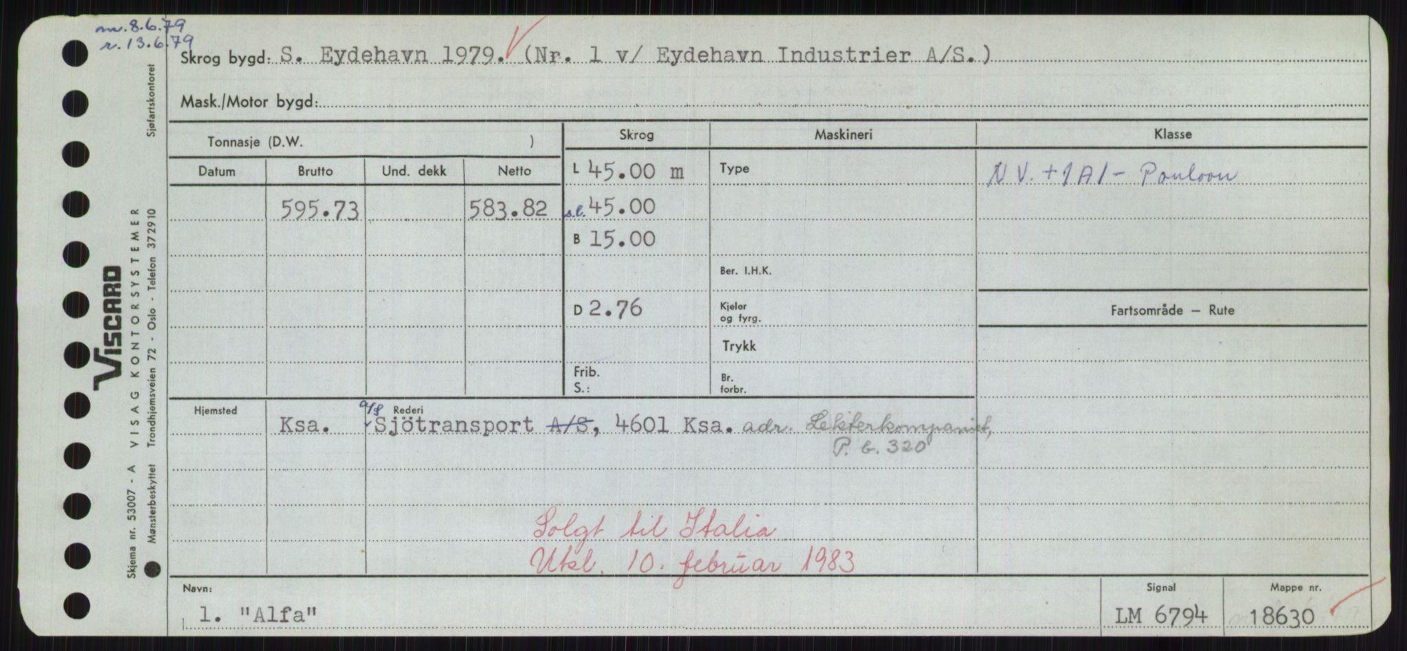 RA, Sjøfartsdirektoratet med forløpere, Skipsmålingen, H/Hd/L0001: Fartøy, A-Anv, s. 315
