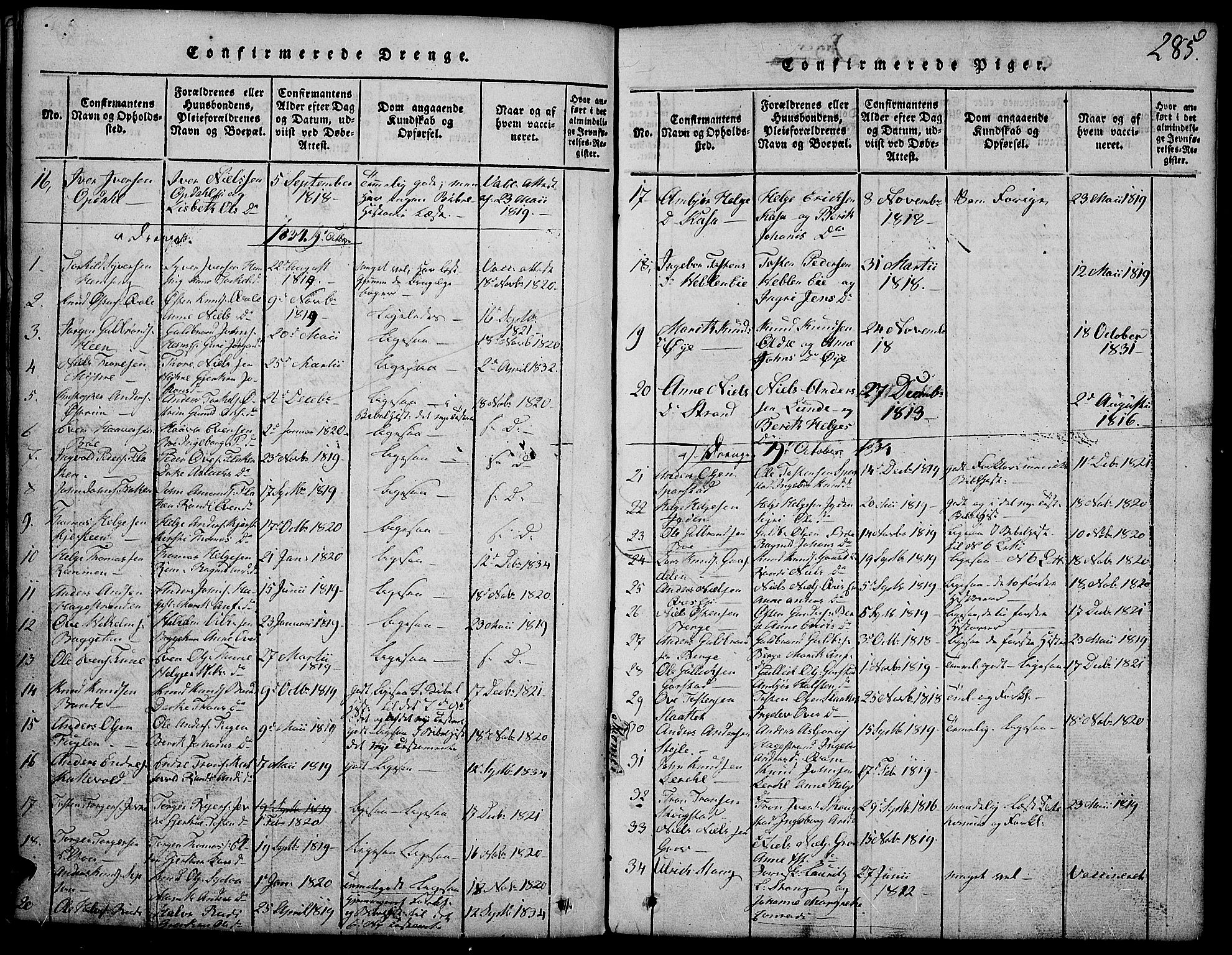 SAH, Vang prestekontor, Valdres, Klokkerbok nr. 2, 1814-1889, s. 285