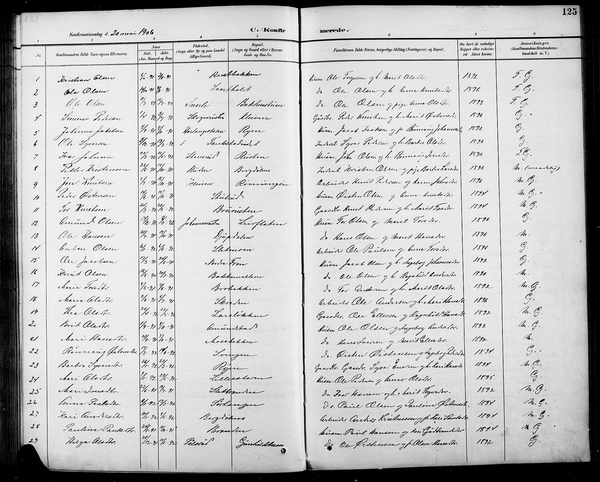 SAH, Sel prestekontor, Klokkerbok nr. 5, 1894-1923, s. 125