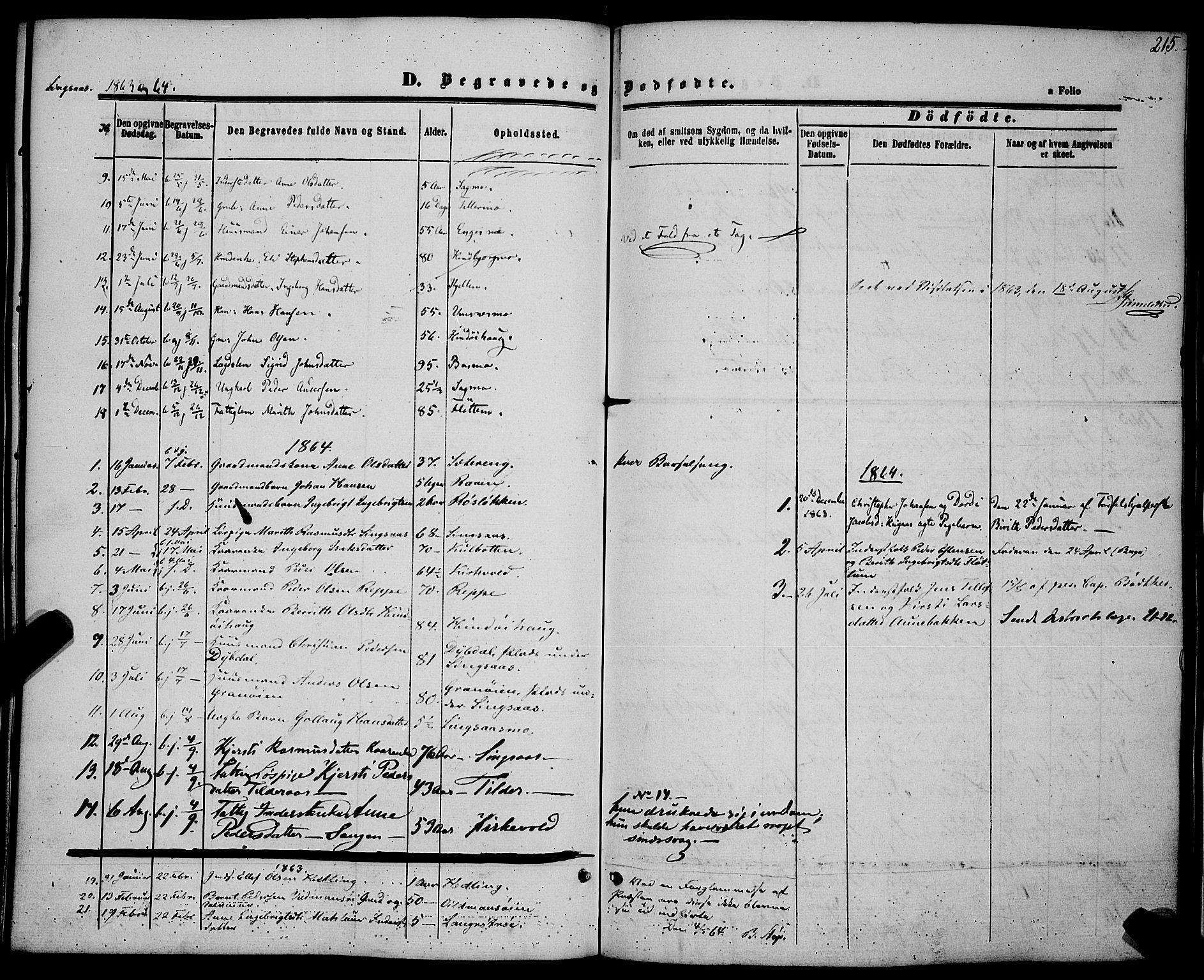 SAT, Ministerialprotokoller, klokkerbøker og fødselsregistre - Sør-Trøndelag, 685/L0967: Ministerialbok nr. 685A07 /2, 1860-1869, s. 215