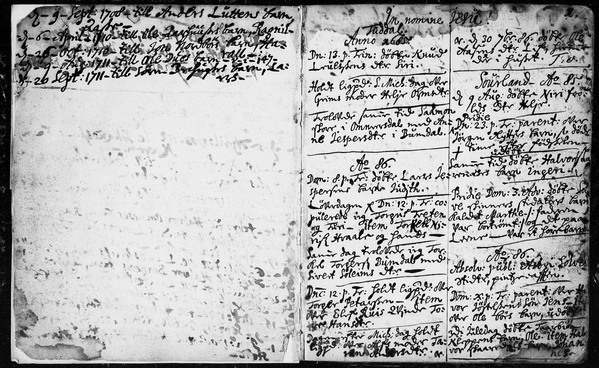 SAKO, Hjartdal kirkebøker, F/Fa/L0001: Ministerialbok nr. I 1, 1685-1714, s. 0-1