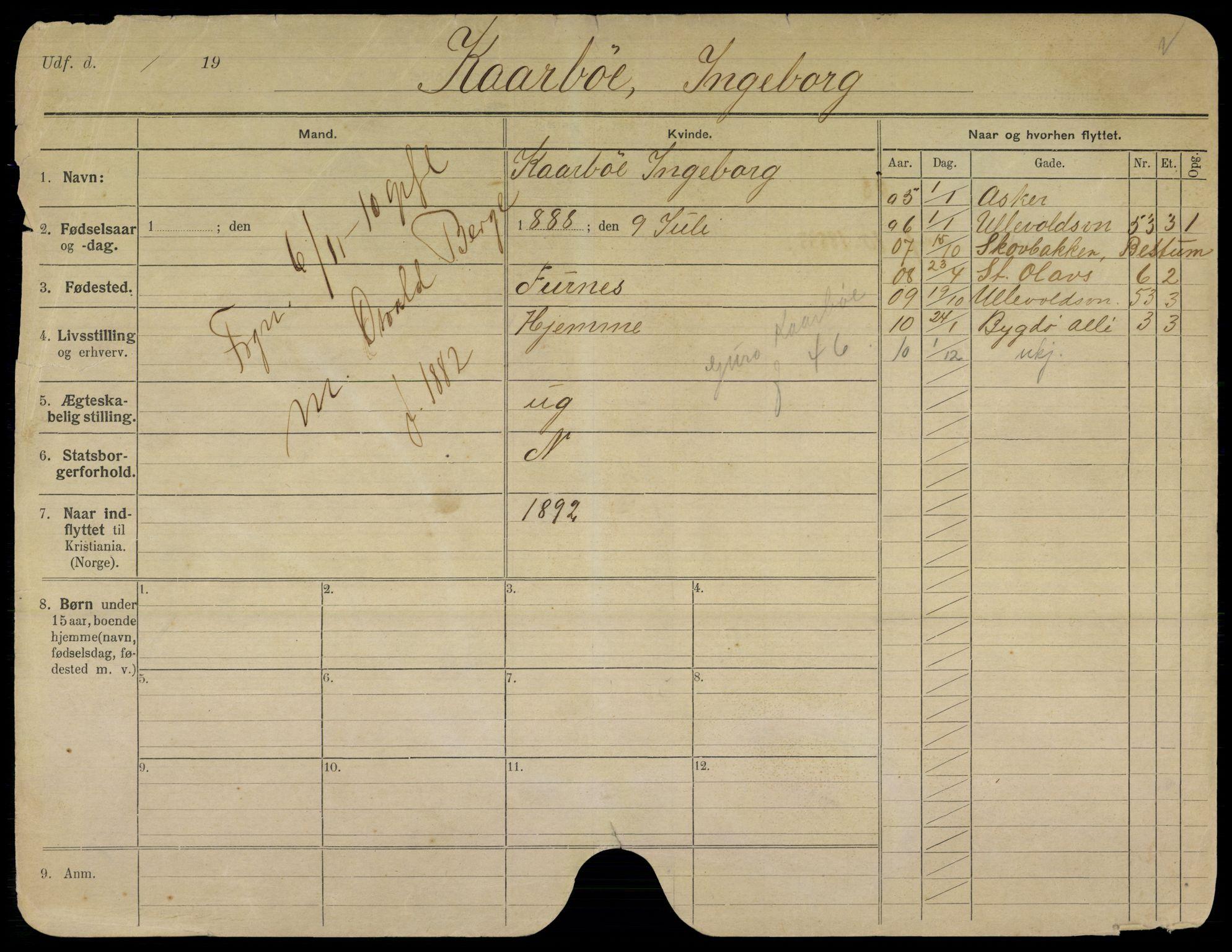 SAO, Oslo folkeregister, Registerkort, K/Kb/L0010: K - Å, 1910