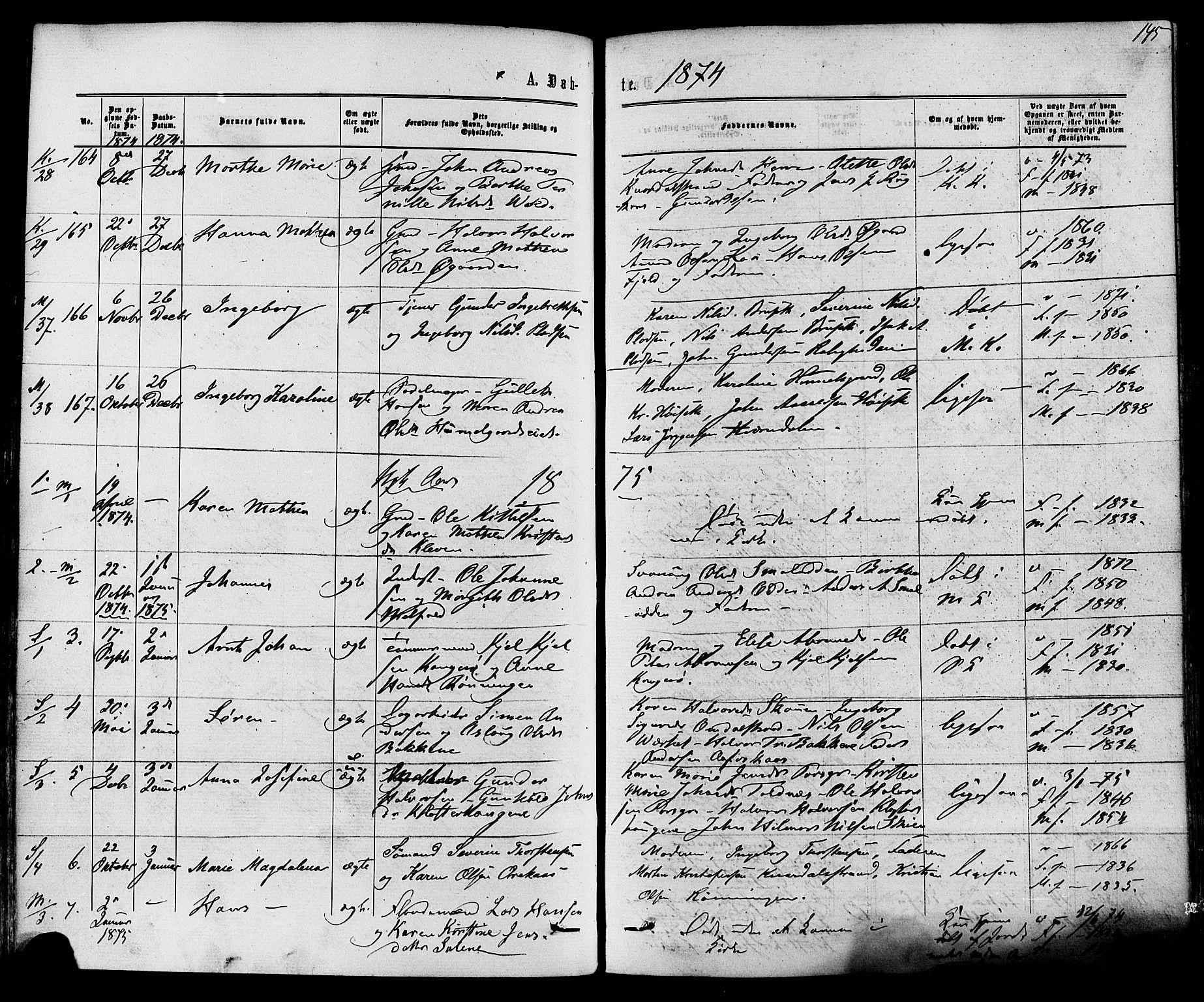 SAKO, Solum kirkebøker, F/Fa/L0008: Ministerialbok nr. I 8, 1865-1876, s. 145