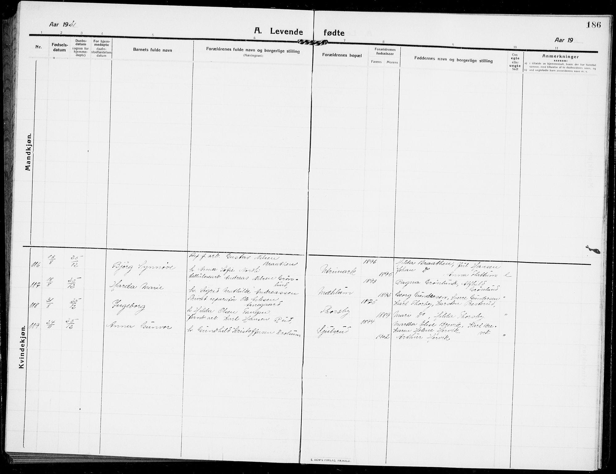 SAKO, Modum kirkebøker, G/Ga/L0009: Klokkerbok nr. I 9, 1909-1923, s. 186