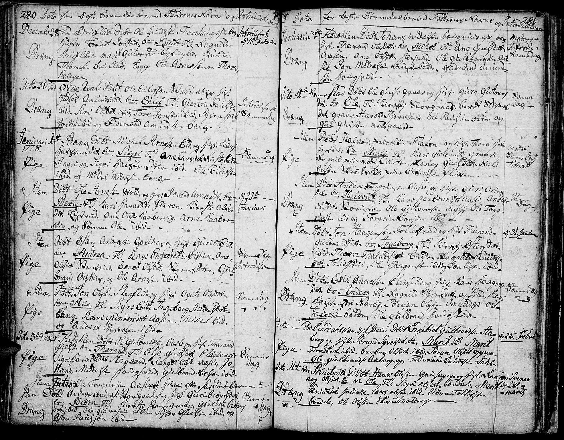 SAH, Aurdal prestekontor, Ministerialbok nr. 5, 1763-1781, s. 280-281