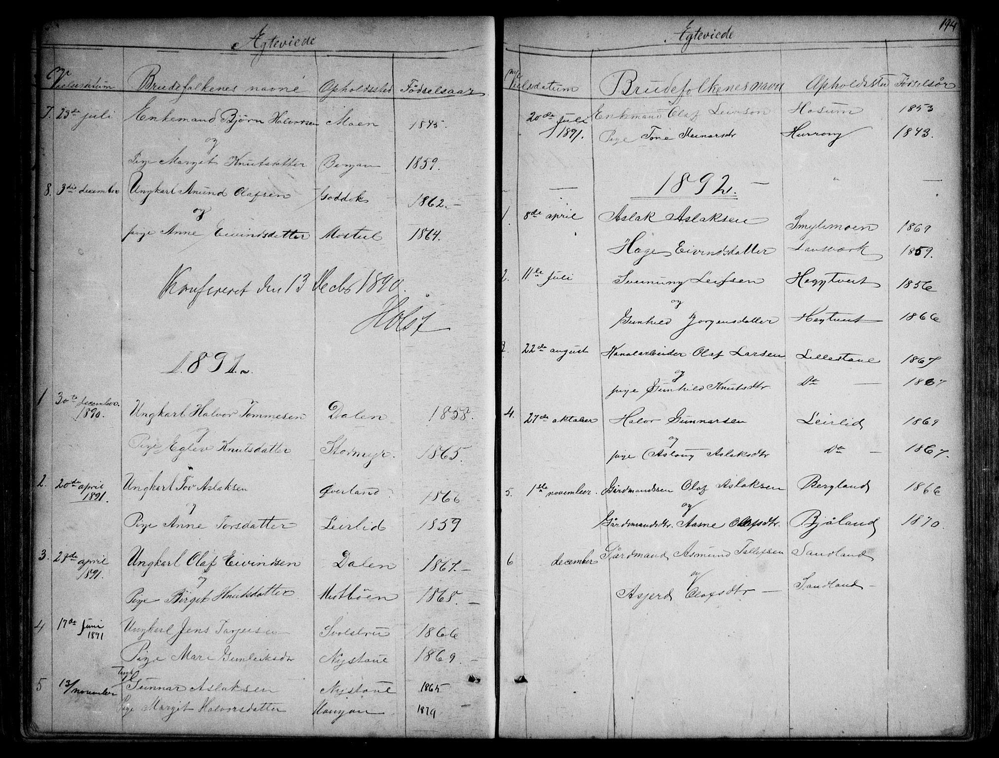 SAKO, Kviteseid kirkebøker, G/Gb/L0002: Klokkerbok nr. II 2, 1850-1892, s. 194