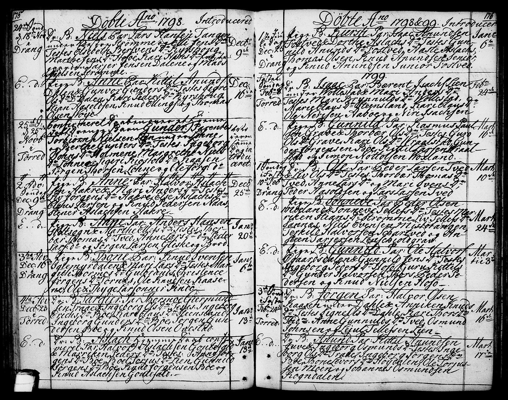 SAKO, Drangedal kirkebøker, F/Fa/L0003: Ministerialbok nr. 3, 1768-1814, s. 175-176