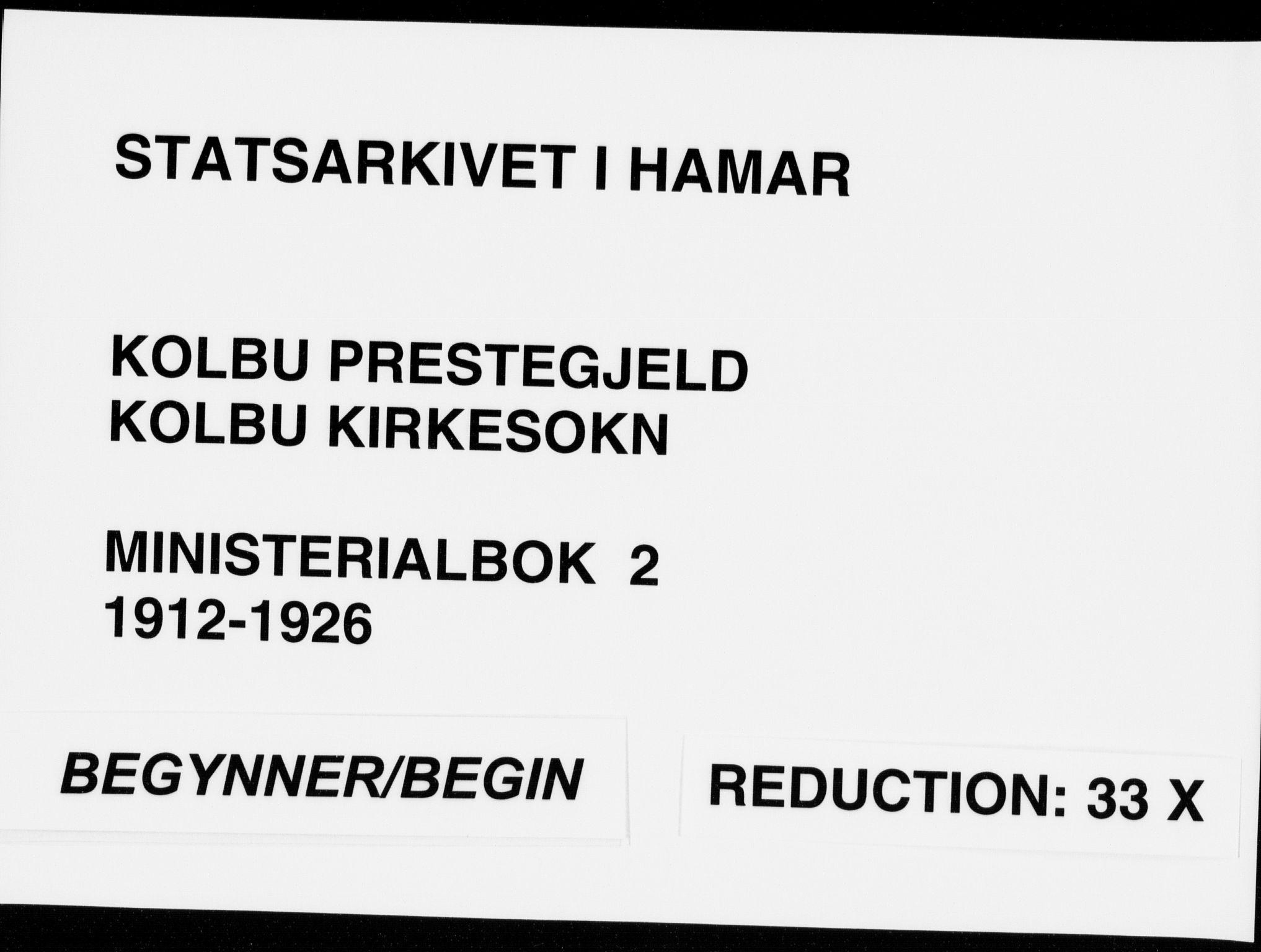 SAH, Kolbu prestekontor, Ministerialbok nr. 2, 1912-1926