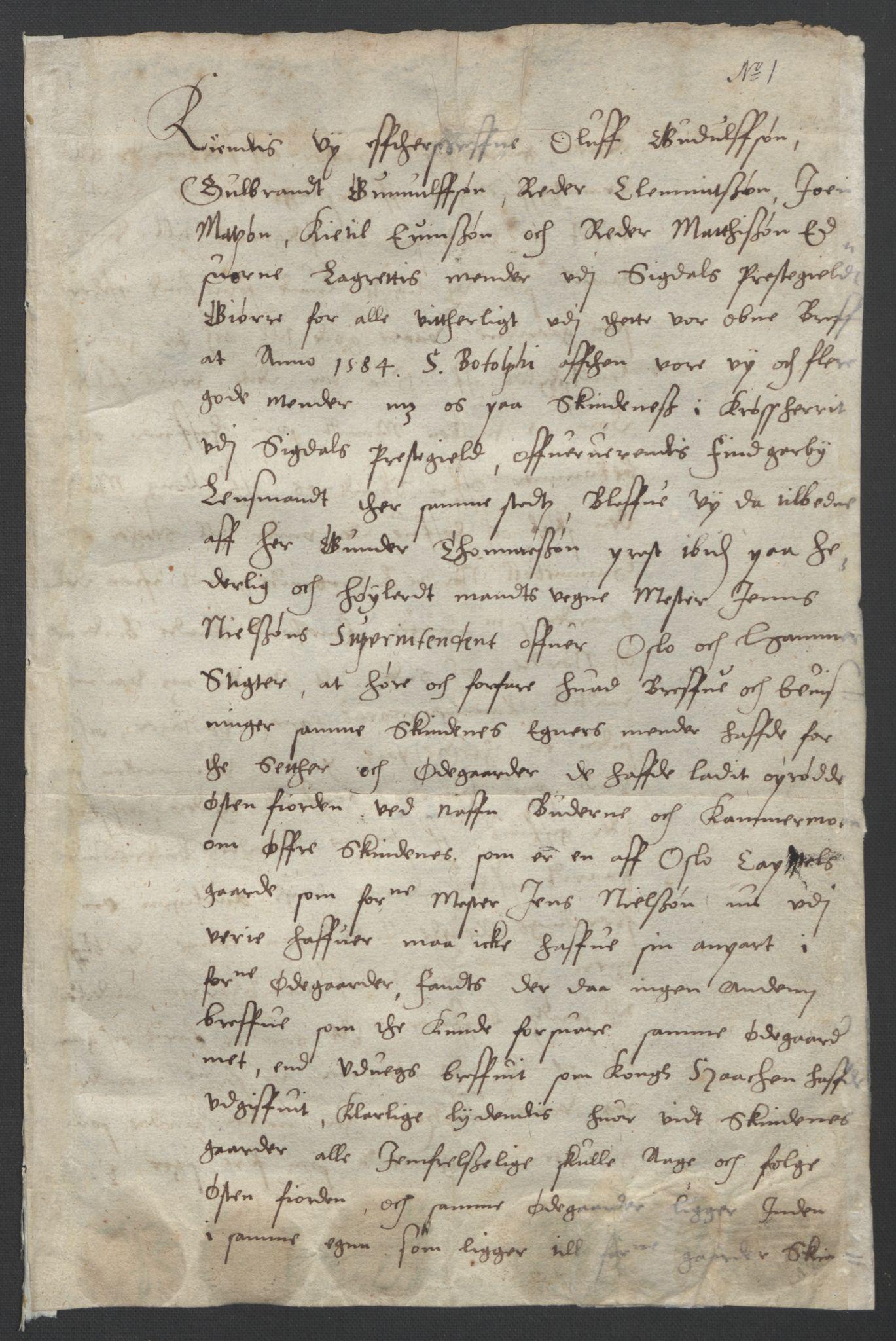 SAO, Oslo stiftsdireksjon, G/Gb/L0001: Bispestolens dokumenter, 1584-1612, s. 1
