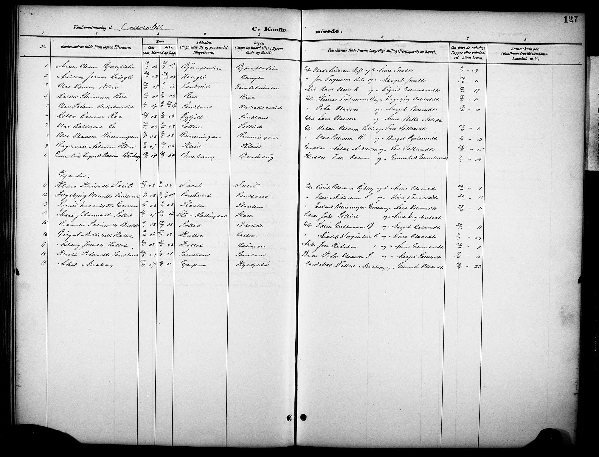 SAKO, Kviteseid kirkebøker, G/Gb/L0003: Klokkerbok nr. II 3, 1893-1933, s. 127