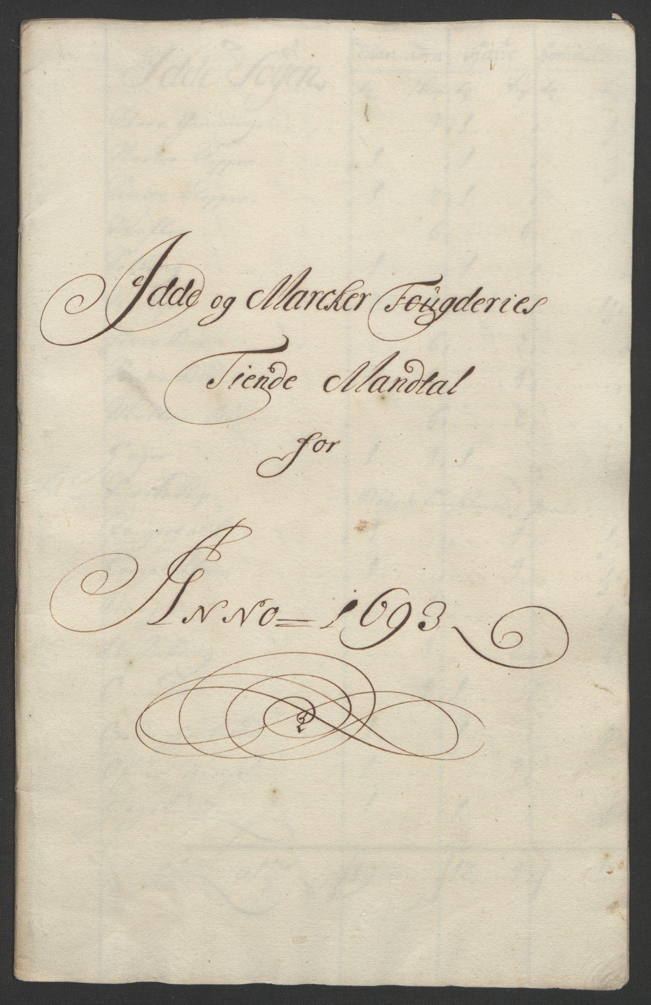 RA, Rentekammeret inntil 1814, Reviderte regnskaper, Fogderegnskap, R01/L0011: Fogderegnskap Idd og Marker, 1692-1693, s. 227