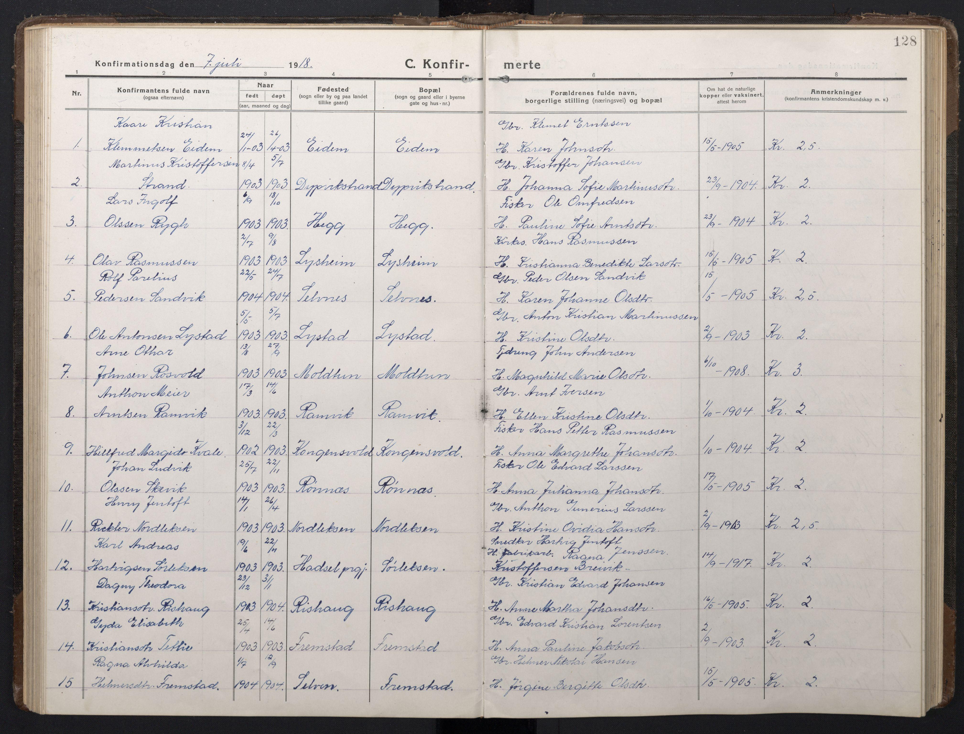 SAT, Ministerialprotokoller, klokkerbøker og fødselsregistre - Sør-Trøndelag, 662/L0758: Klokkerbok nr. 662C03, 1918-1948, s. 128