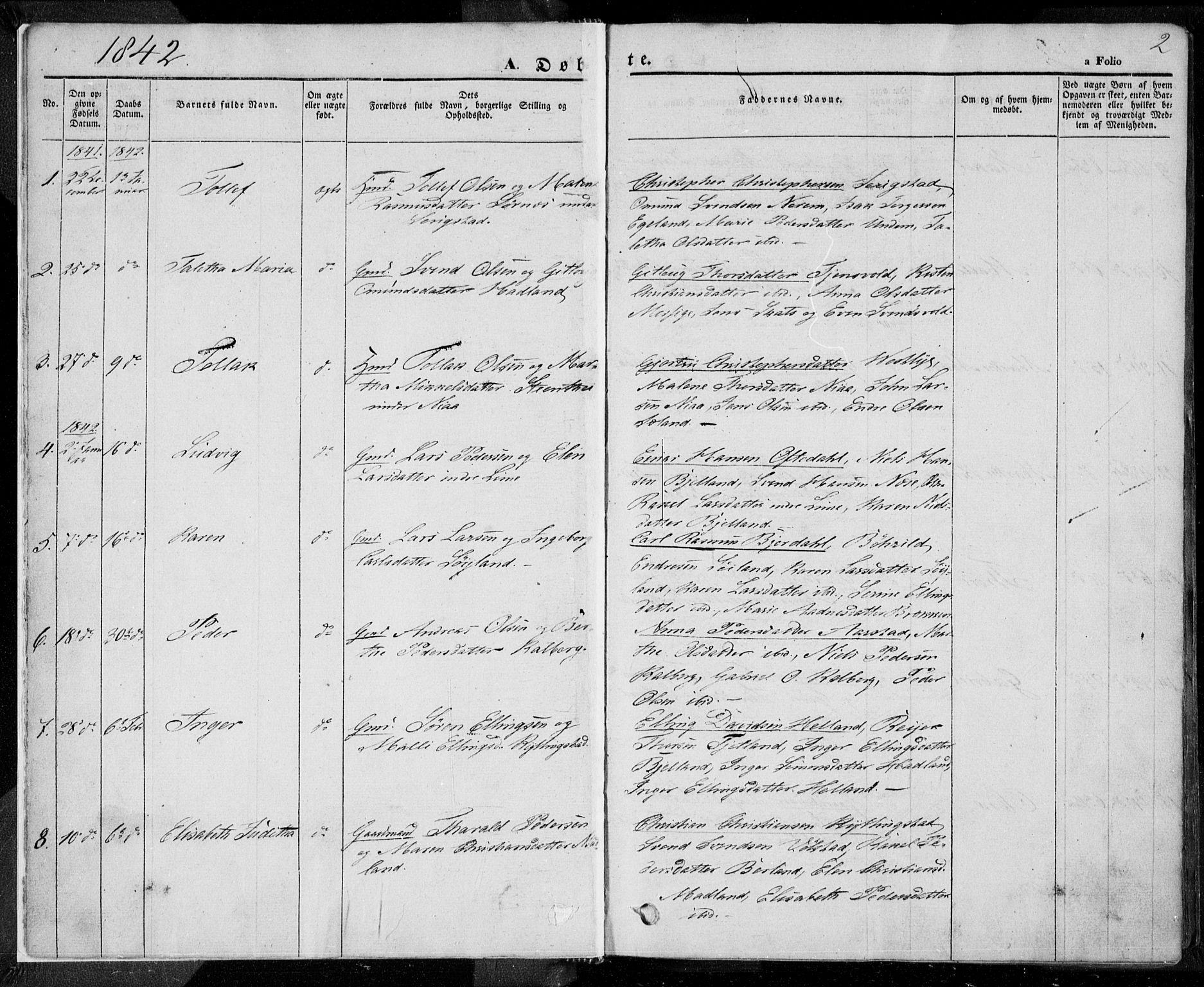 SAST, Lye sokneprestkontor, 30BA/L0005: Ministerialbok nr. A 5.1, 1842-1855, s. 2