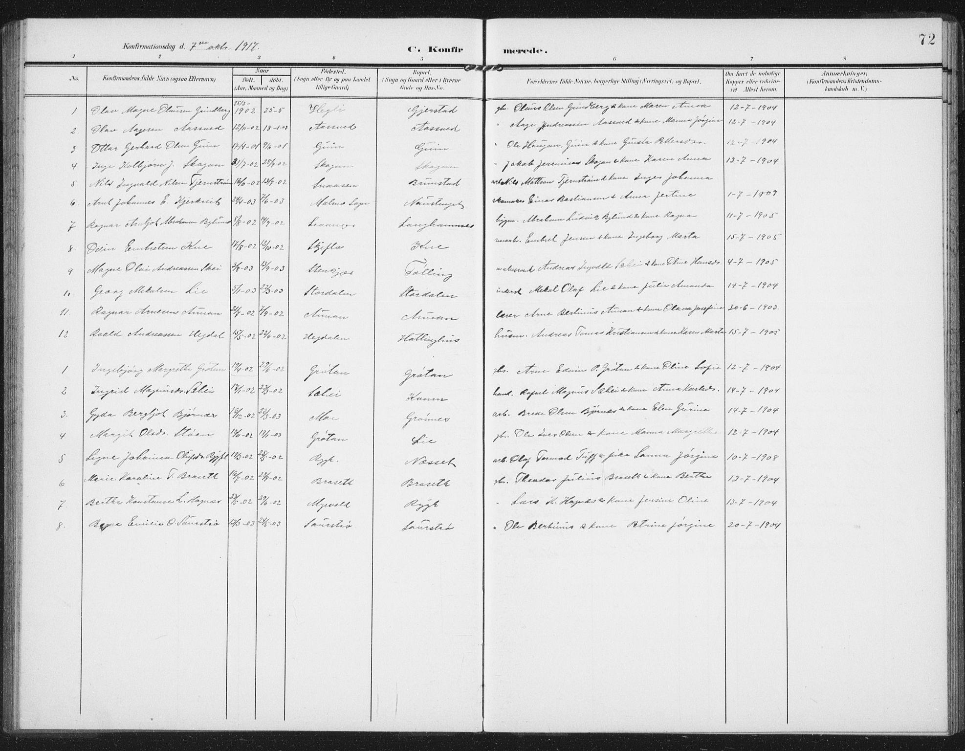SAT, Ministerialprotokoller, klokkerbøker og fødselsregistre - Nord-Trøndelag, 747/L0460: Klokkerbok nr. 747C02, 1908-1939, s. 72