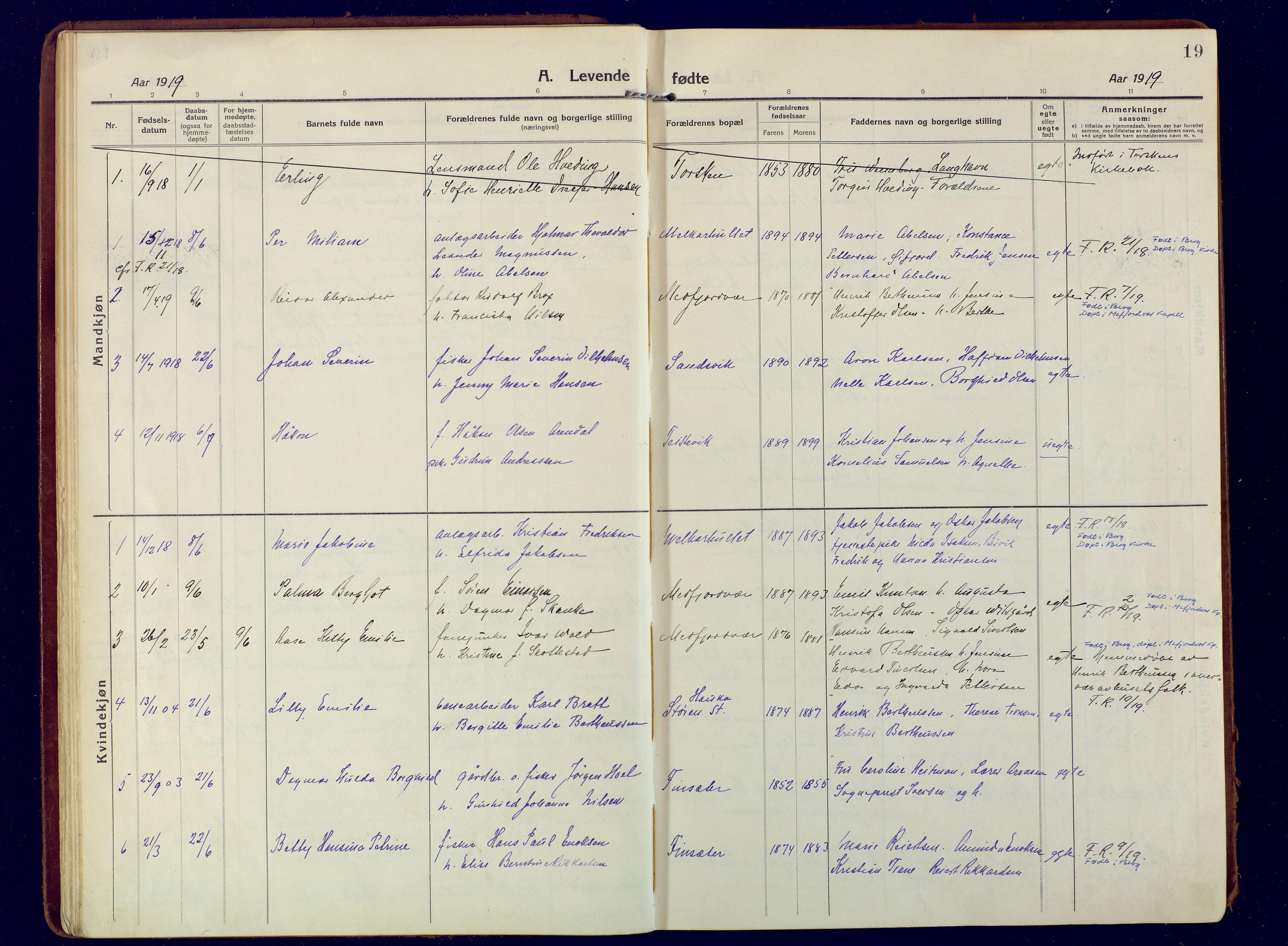 SATØ, Mefjord/Berg sokneprestkontor, G/Ga/Gaa: Ministerialbok nr. 9, 1916-1928, s. 19