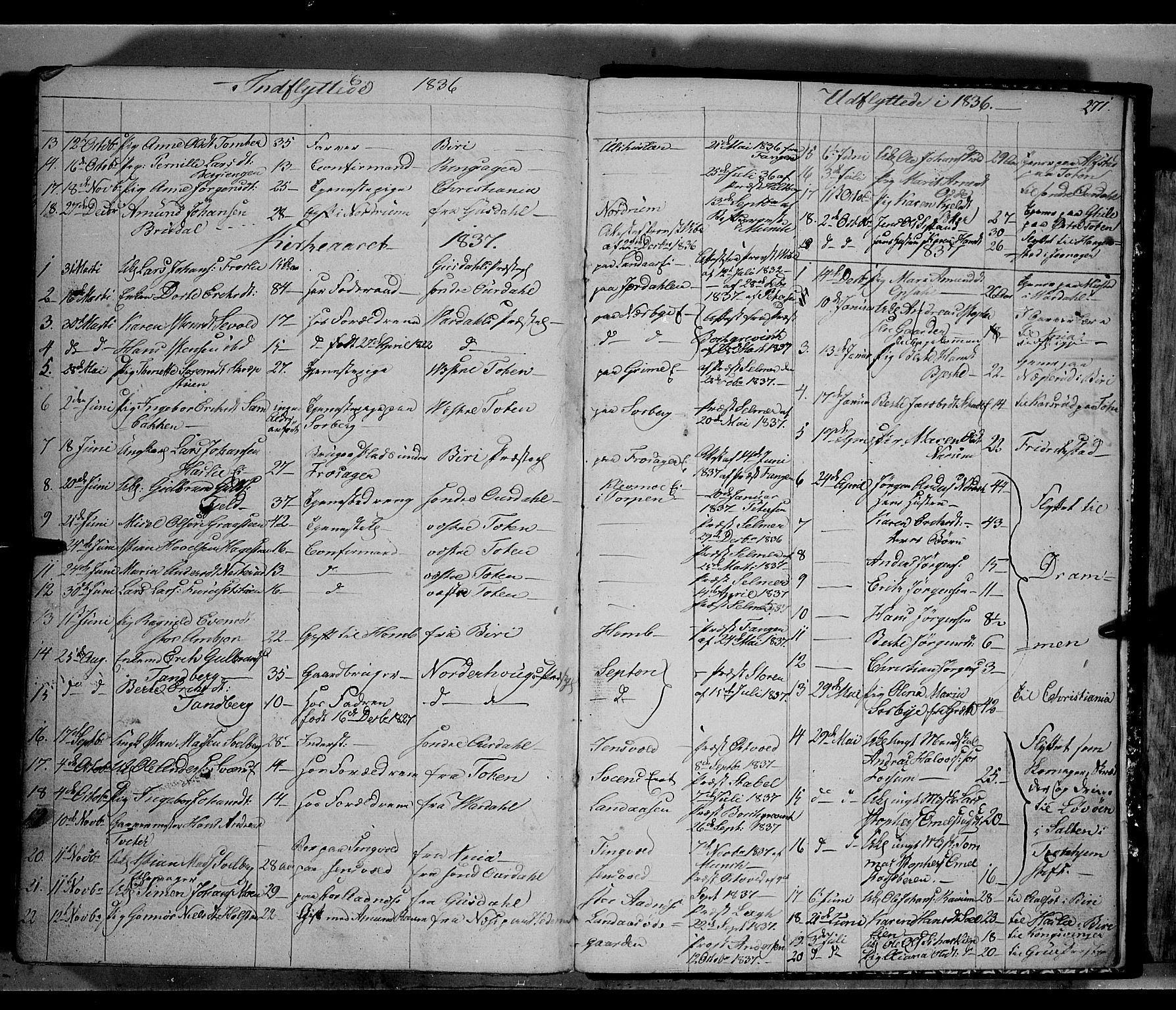 SAH, Land prestekontor, Klokkerbok nr. 2, 1833-1849, s. 271