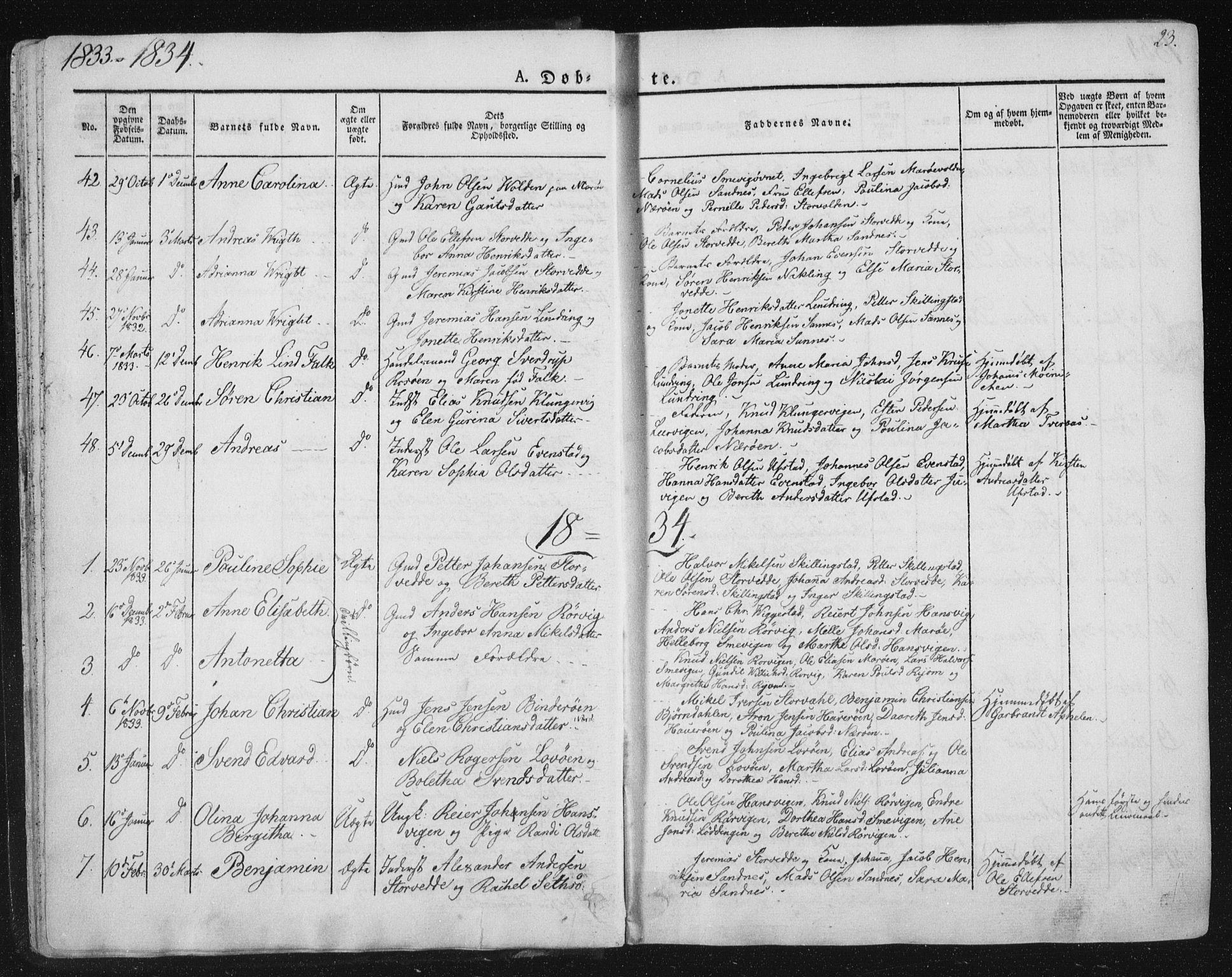 SAT, Ministerialprotokoller, klokkerbøker og fødselsregistre - Nord-Trøndelag, 784/L0669: Ministerialbok nr. 784A04, 1829-1859, s. 23