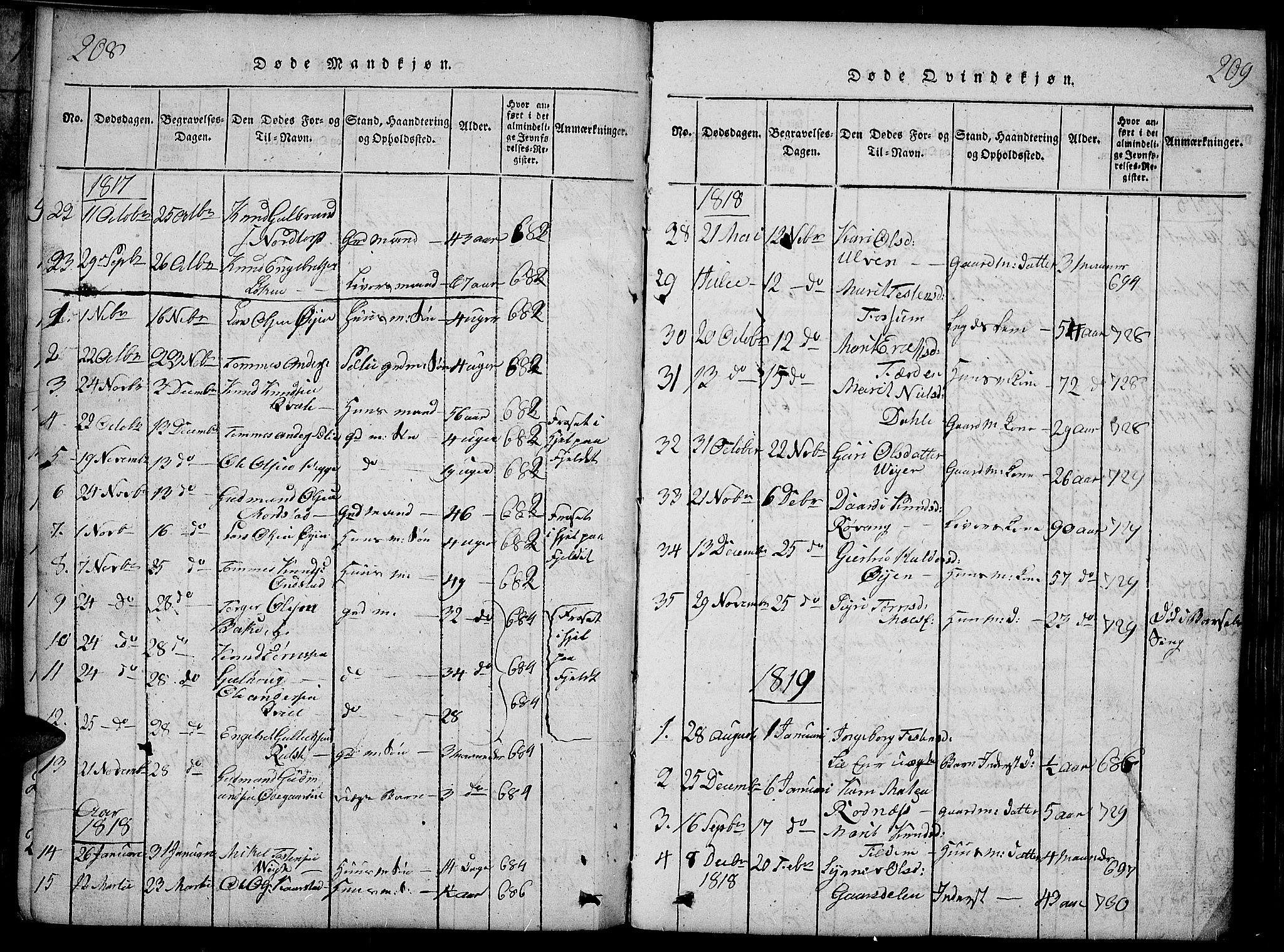 SAH, Slidre prestekontor, Ministerialbok nr. 2, 1814-1830, s. 208-209