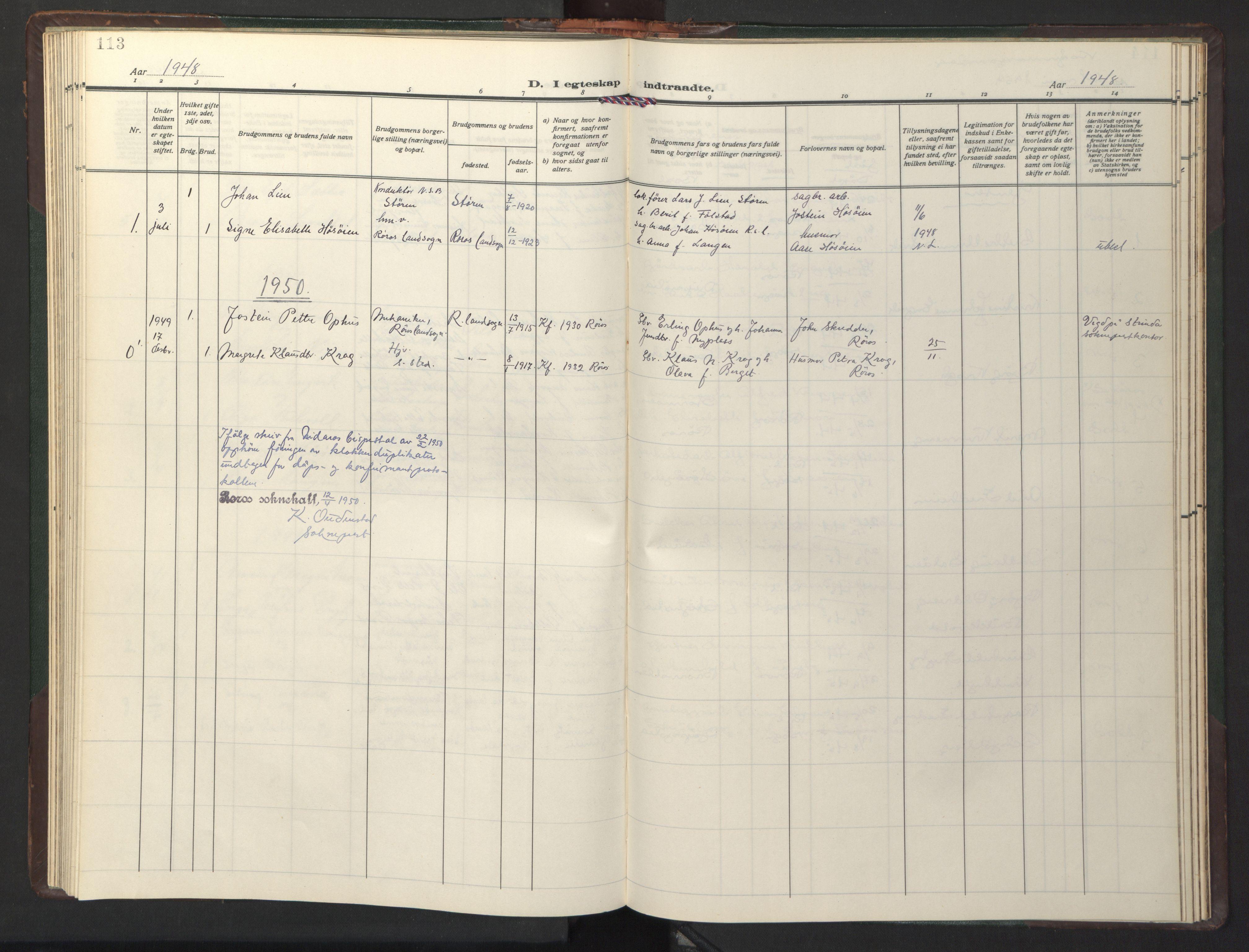 SAT, Ministerialprotokoller, klokkerbøker og fødselsregistre - Sør-Trøndelag, 681/L0944: Klokkerbok nr. 681C08, 1926-1954, s. 113