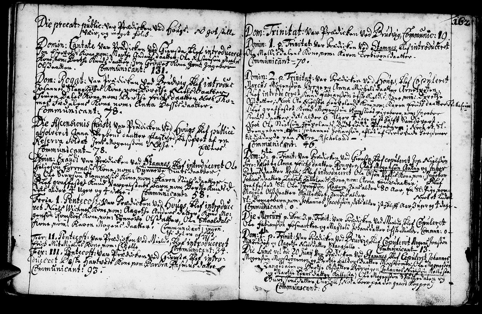 SAB, Haus Sokneprestembete, H/Haa: Ministerialbok nr. A 1, 1691-1712, s. 162