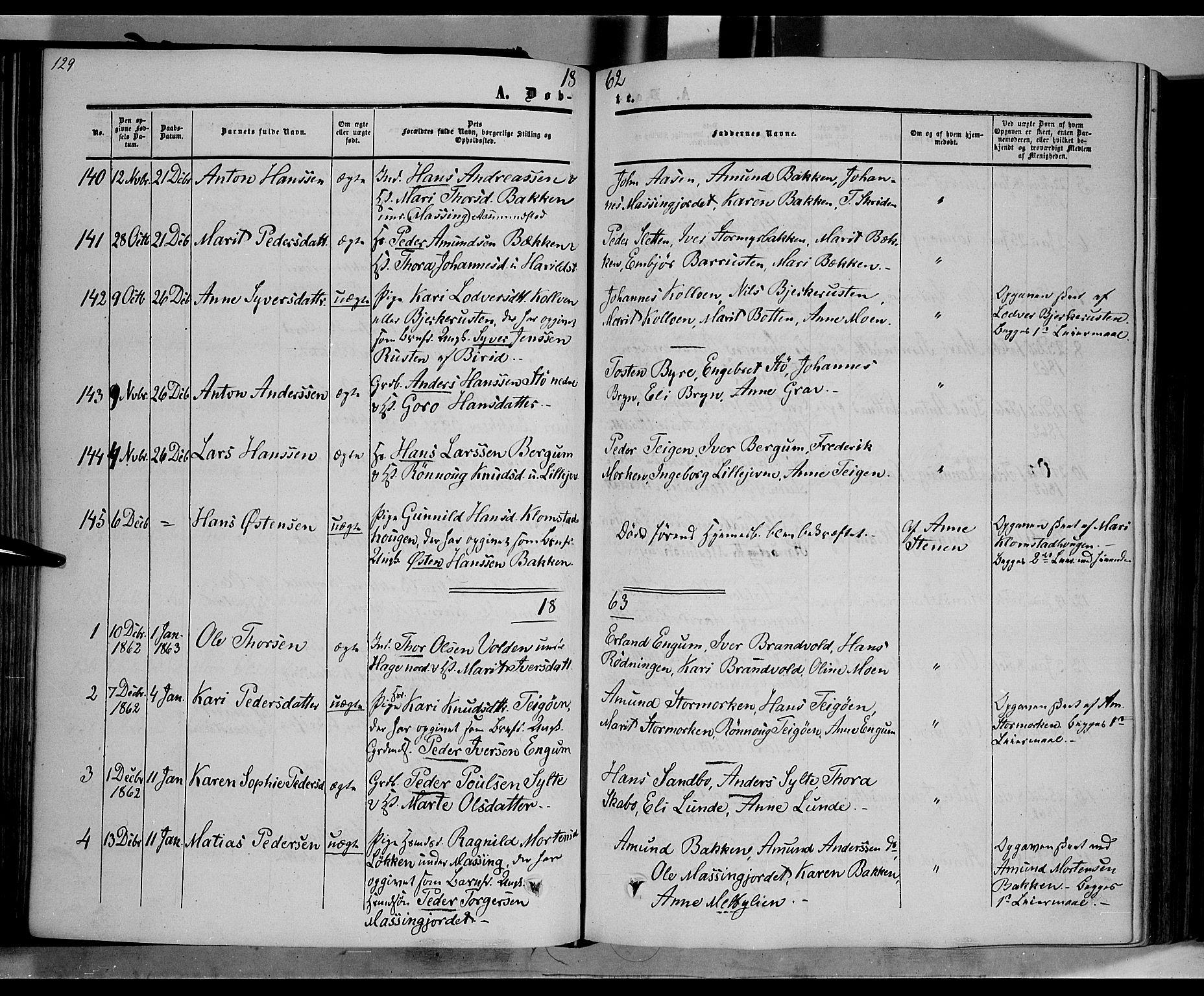SAH, Nord-Fron prestekontor, Ministerialbok nr. 1, 1851-1864, s. 129