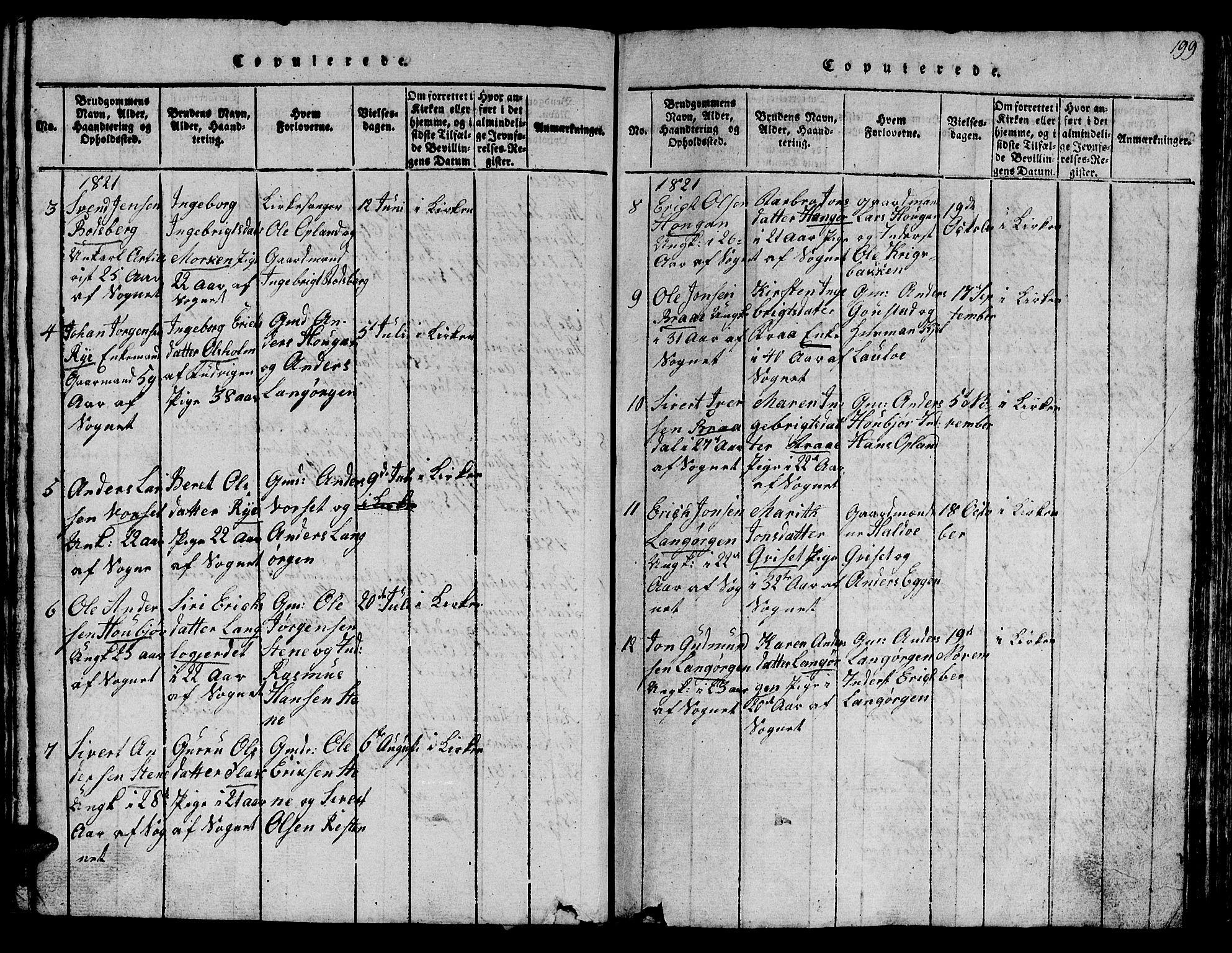 SAT, Ministerialprotokoller, klokkerbøker og fødselsregistre - Sør-Trøndelag, 612/L0385: Klokkerbok nr. 612C01, 1816-1845, s. 199