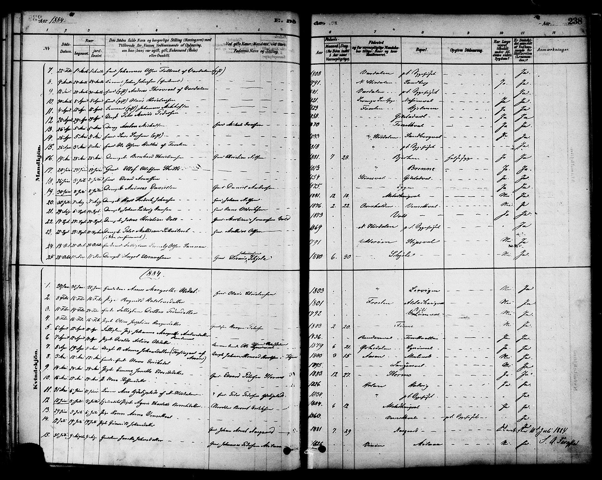 SAT, Ministerialprotokoller, klokkerbøker og fødselsregistre - Nord-Trøndelag, 717/L0159: Ministerialbok nr. 717A09, 1878-1898, s. 238