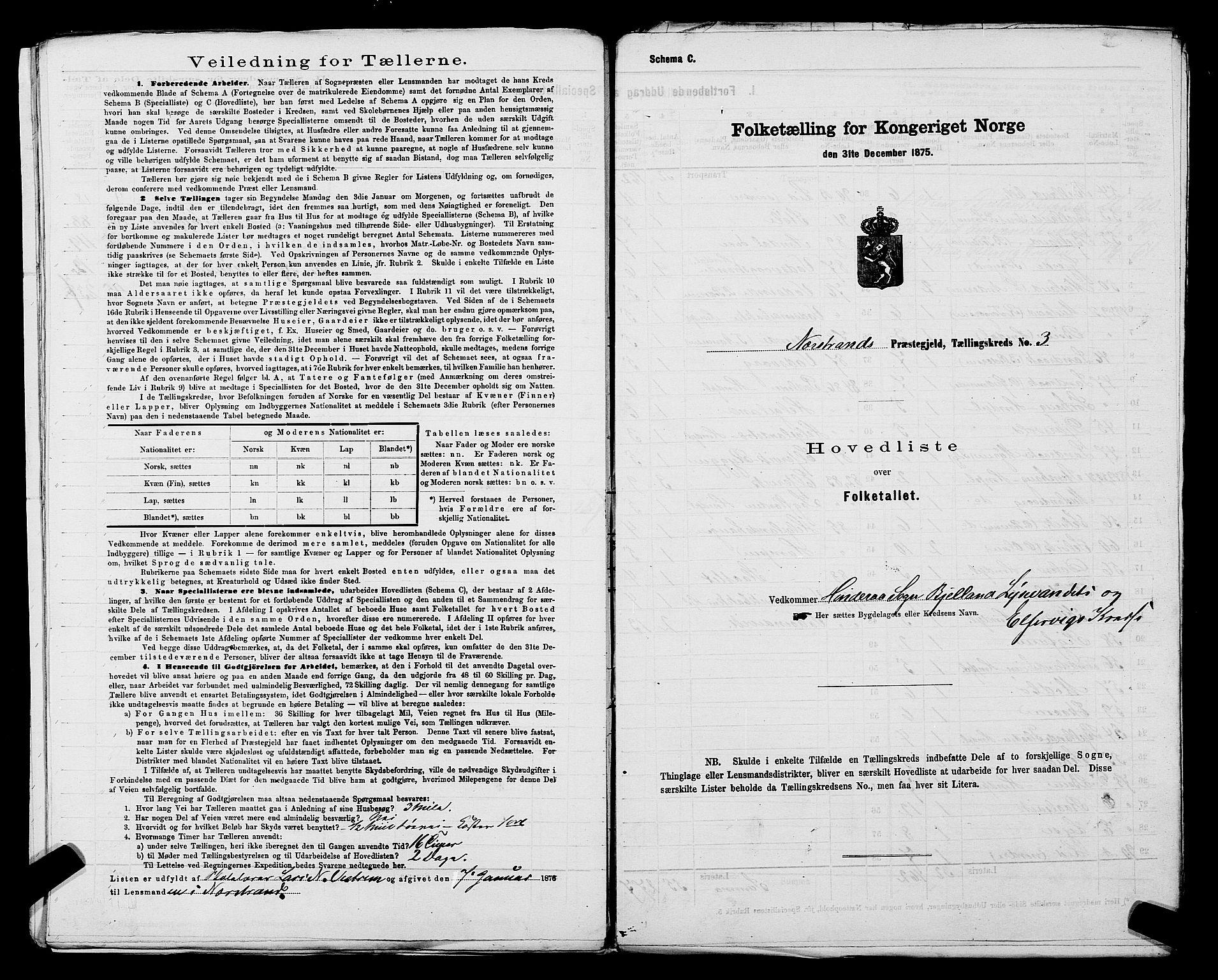 SAST, Folketelling 1875 for 1139P Nedstrand prestegjeld, 1875, s. 10